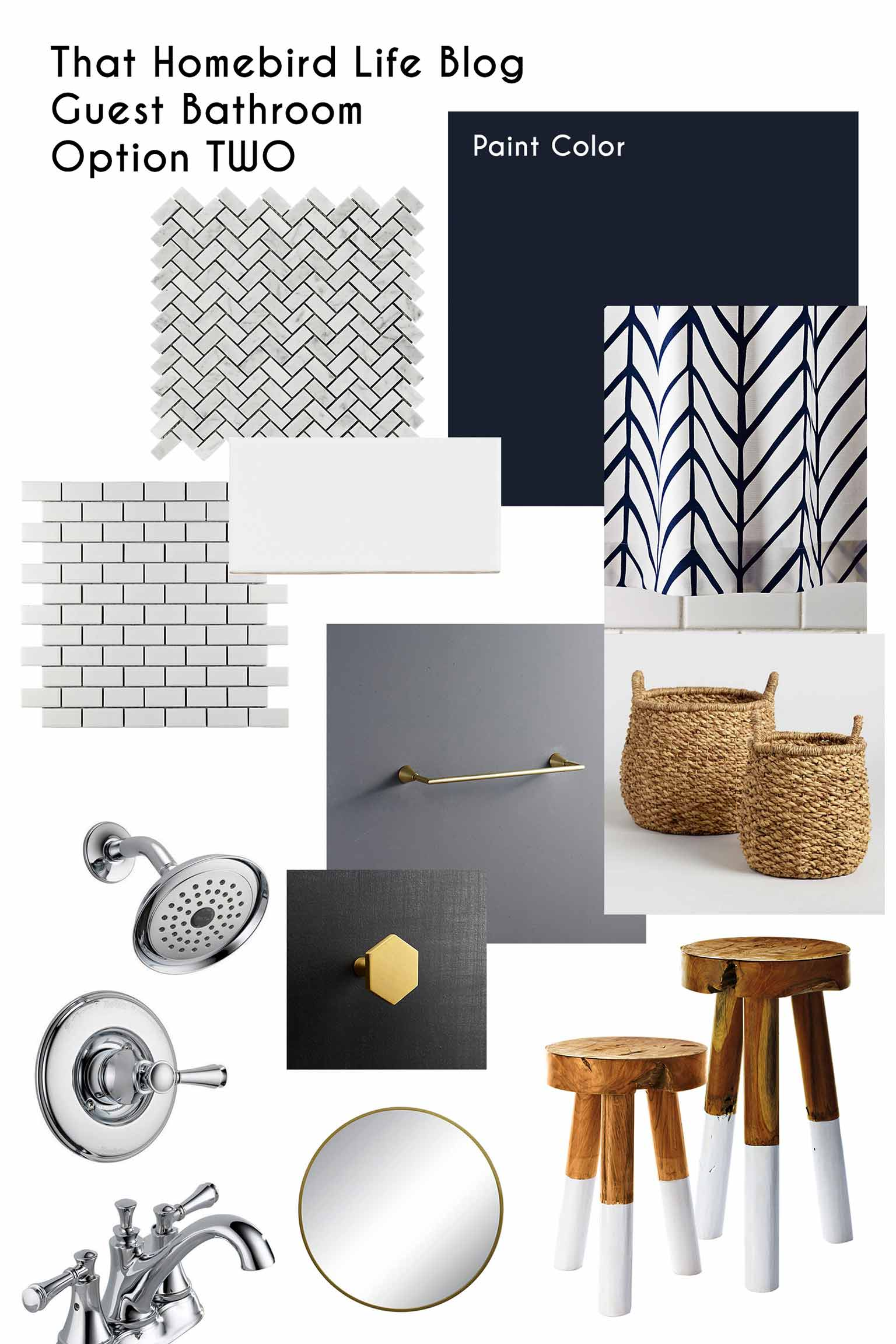 Bathroom mood board including marble herringbone tile, white subway tile, brass hardware and chrome shower head and faucet - That Homebird Life Blog