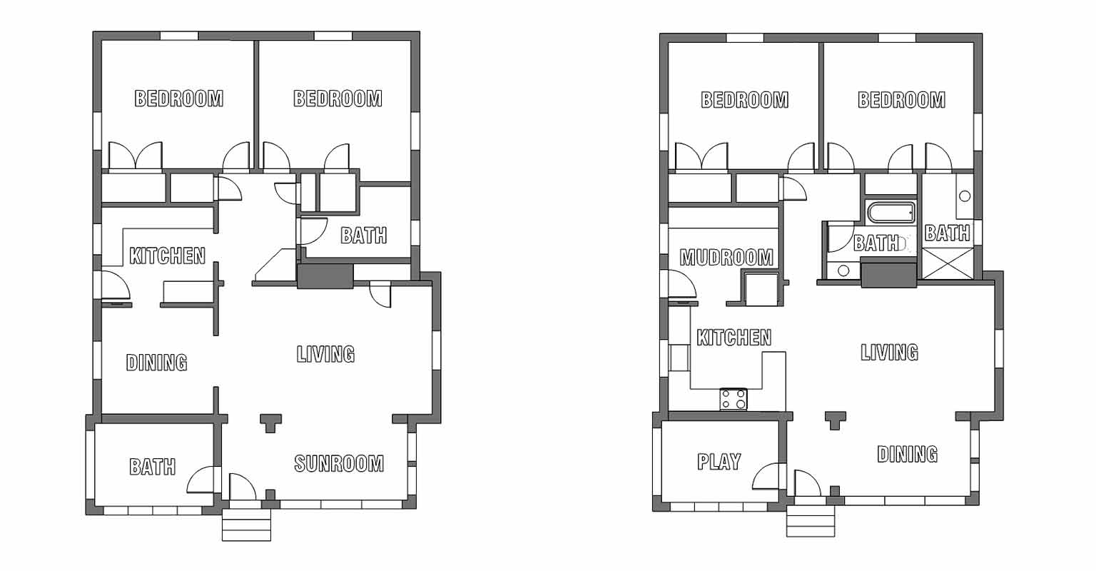Original Floor Plan And Floor Plan For Phase One Renovation