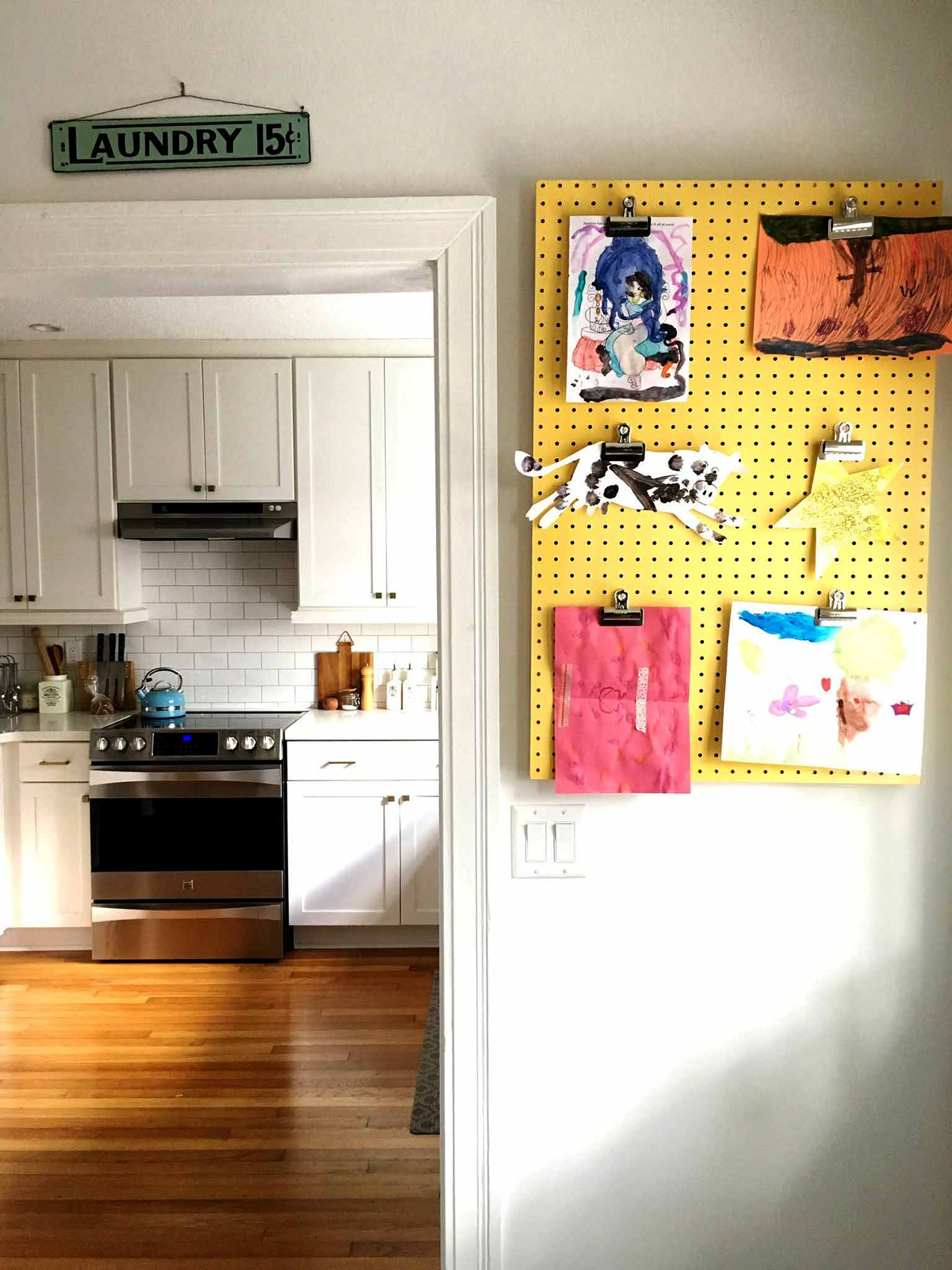 Pegboard display board - 4 simple steps to keeping your kids' artwork organized - That Homebird Life Blog