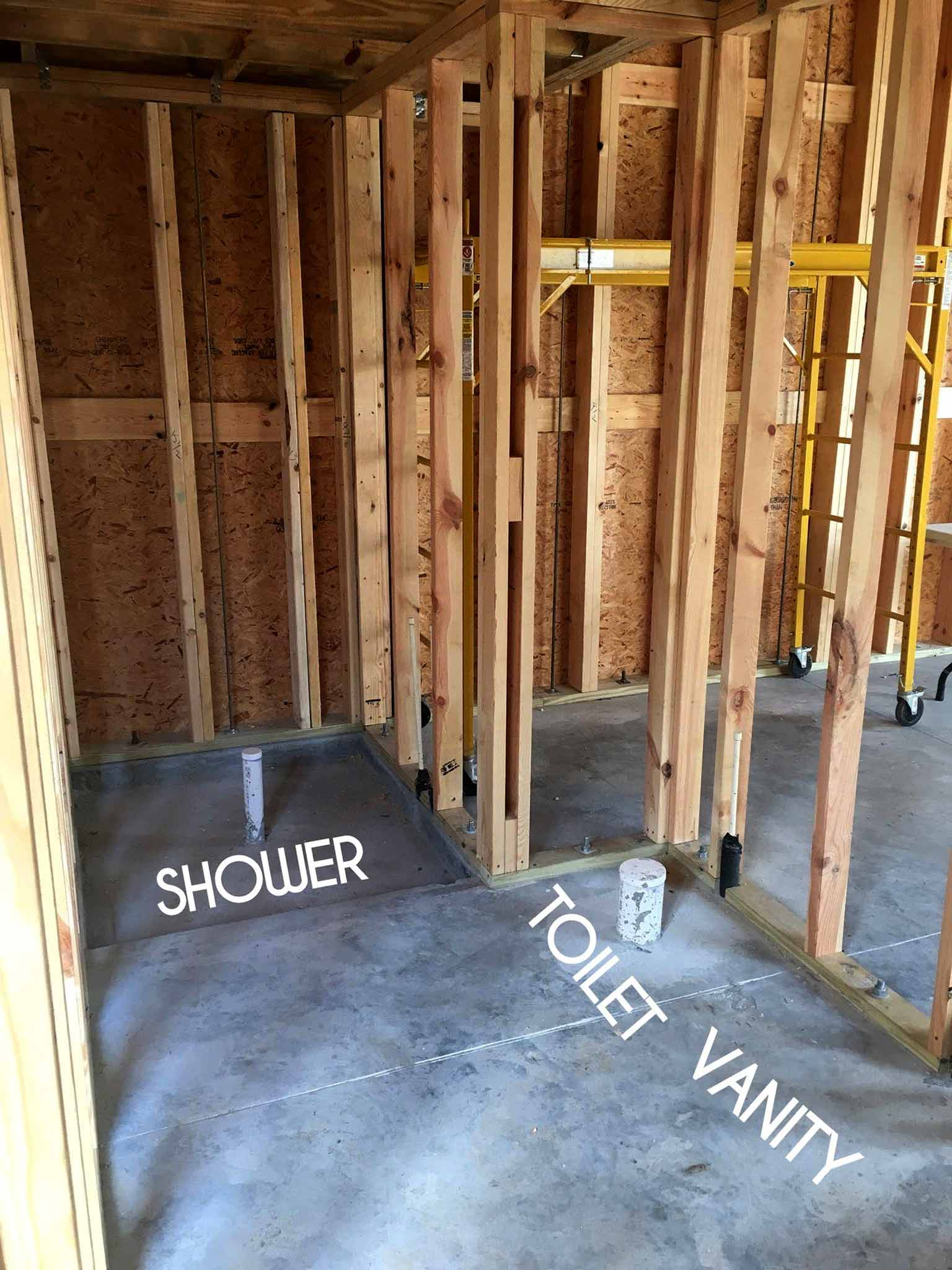 Bathroom - guest house construction progress - That Homebird Life Blog