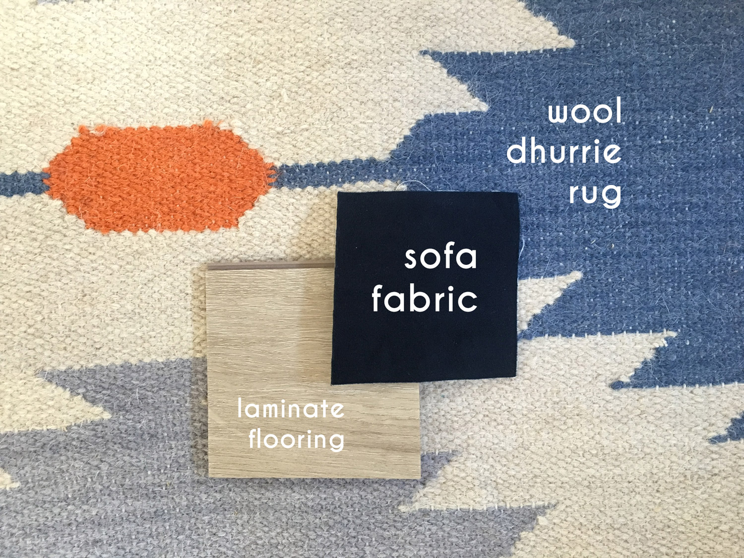 Guest house interior decor samples - flooring, rug and sofa fabric - That Homebird Life Blog