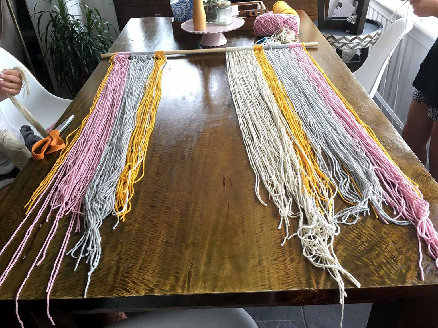 Yarn wall hanging in progress - That Homebird Life Blog