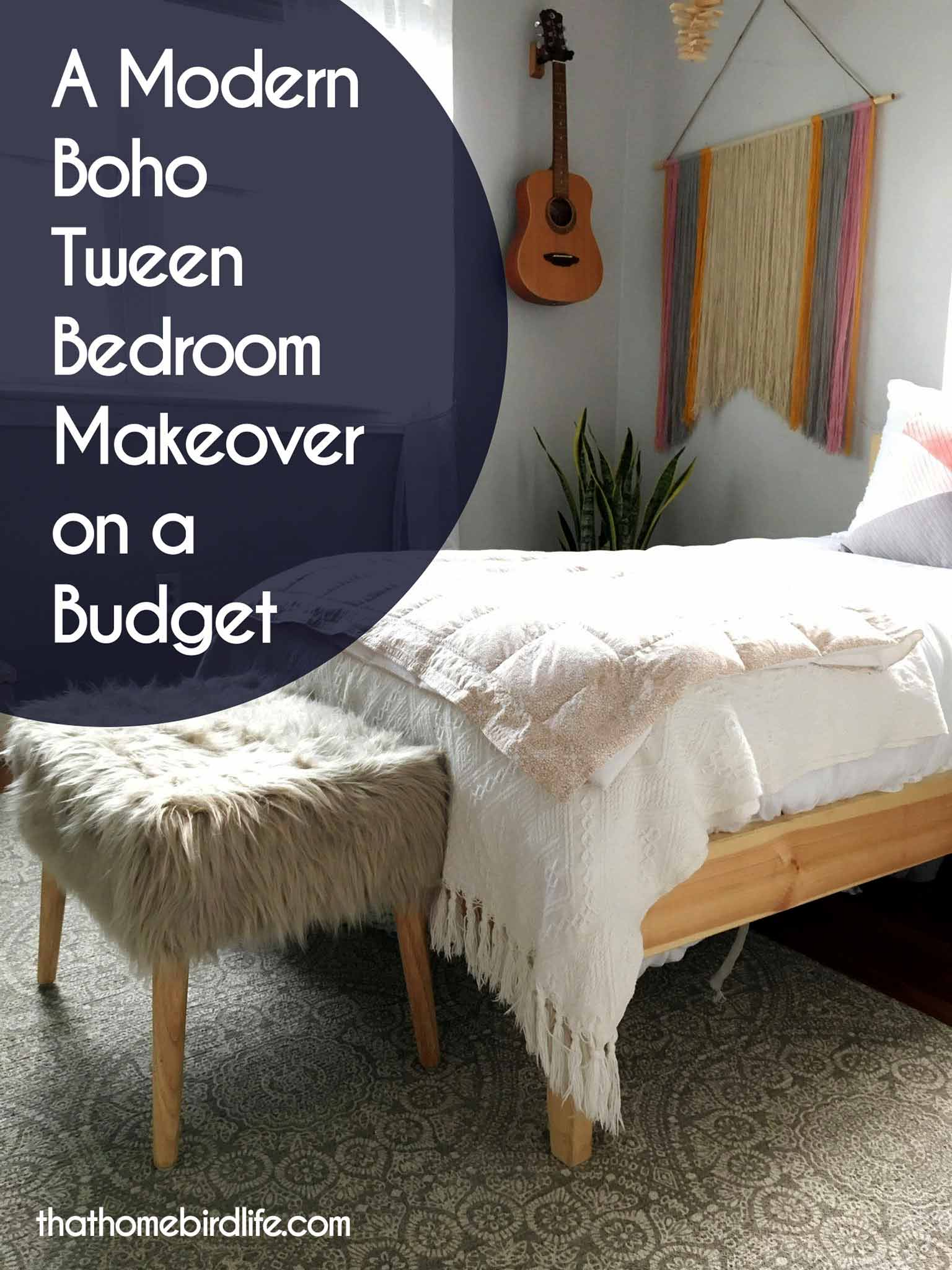 A Modern Boho Tween Bedroom Makeover On A Budget   That Homebird Life Blog