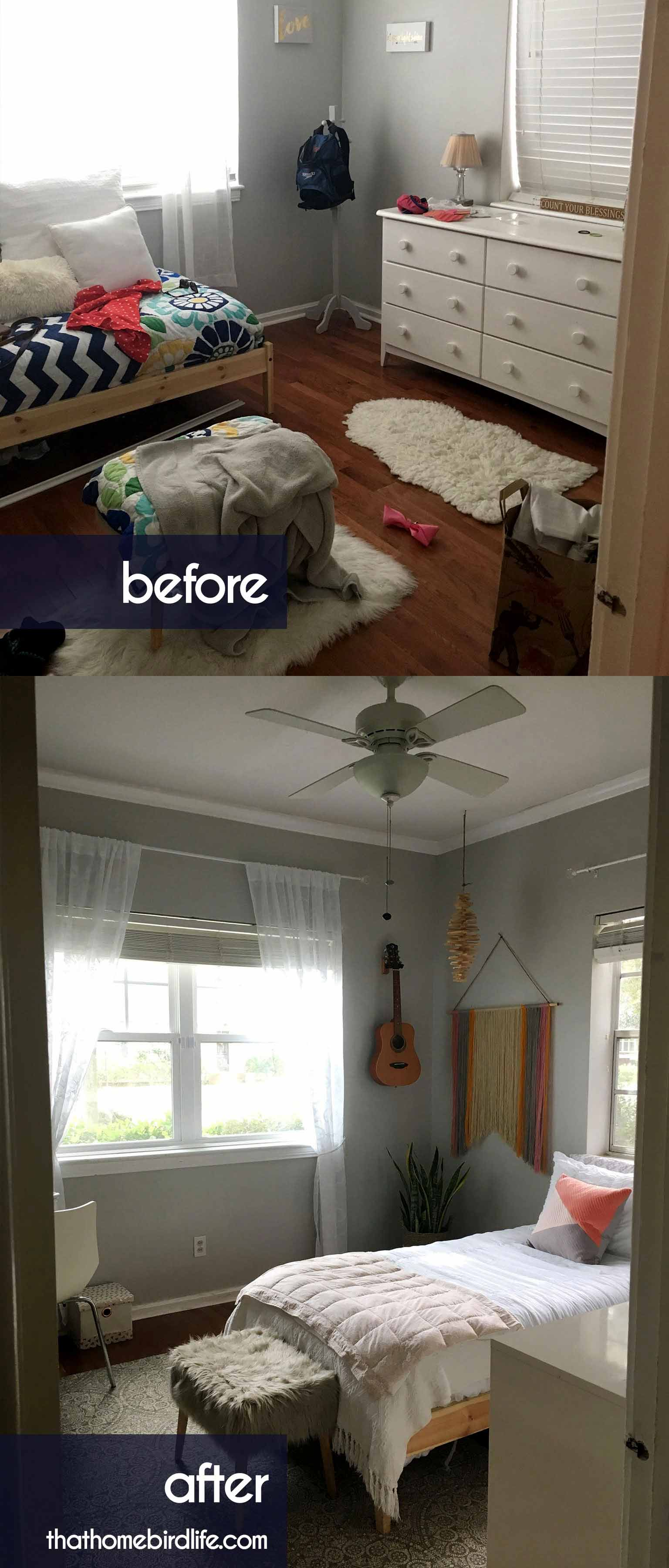 Before and after - A modern boho tween bedroom makeover on a budget - That Homebird Life Blog