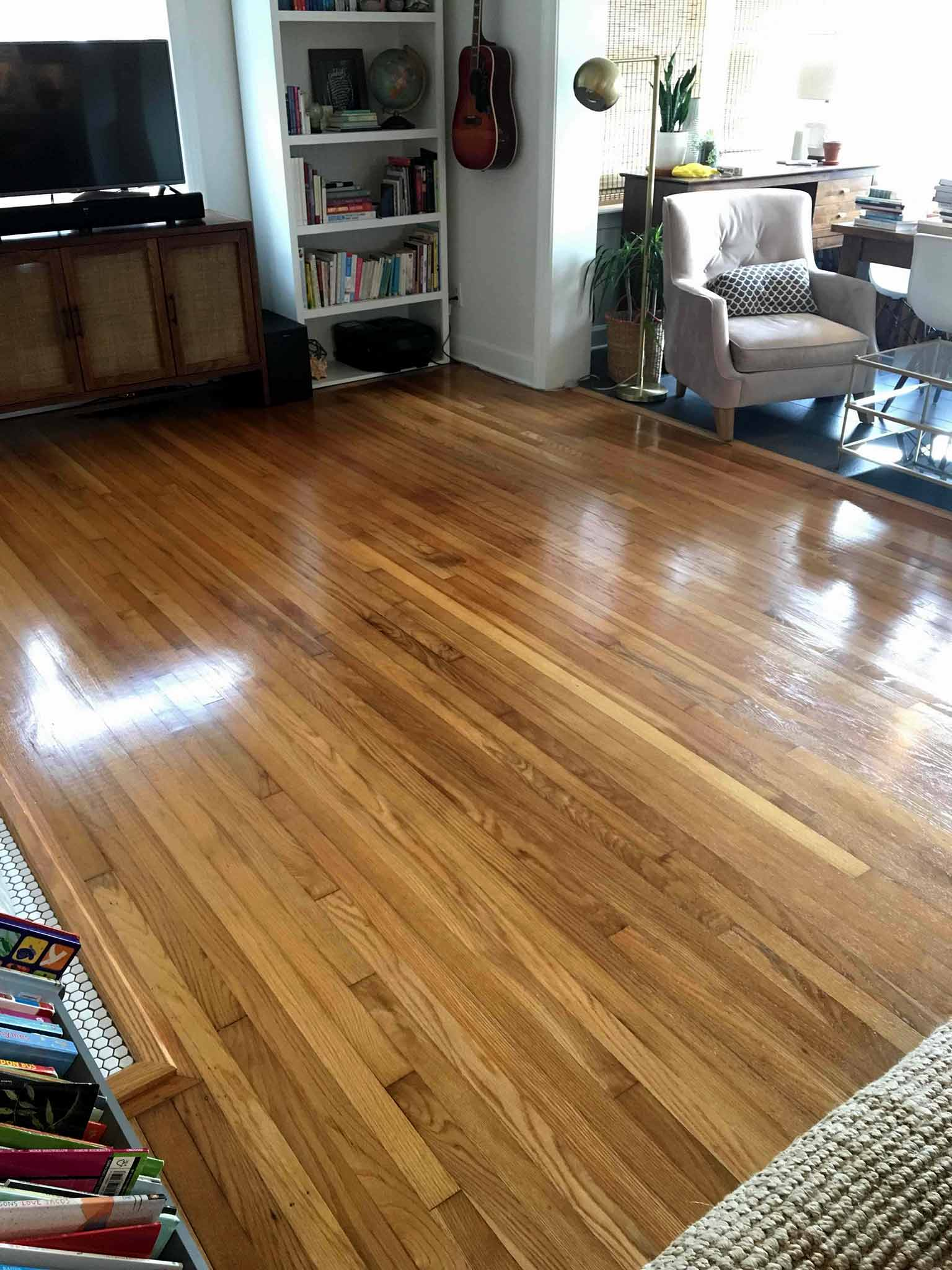 shiny hardwood floors