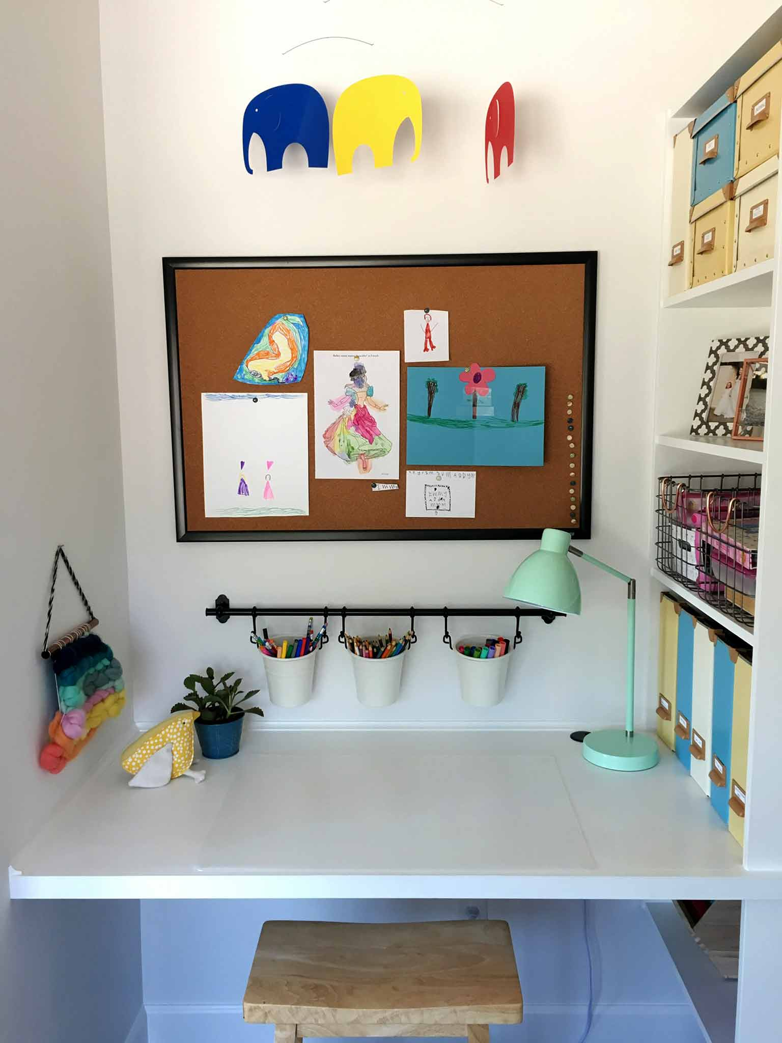 Kids art and craft station, built-in desk, closet and shelving - playroom house tour - That Homebird Life Blog