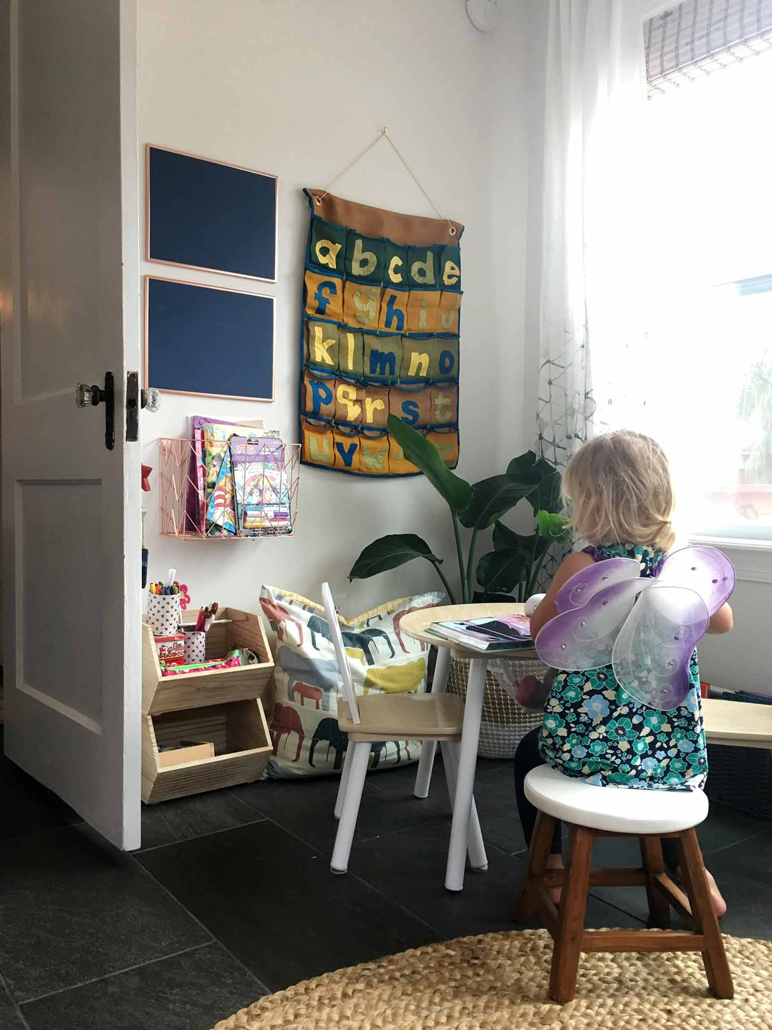 Kids art and craft table - playroom house tour - That Homebird Life Blog