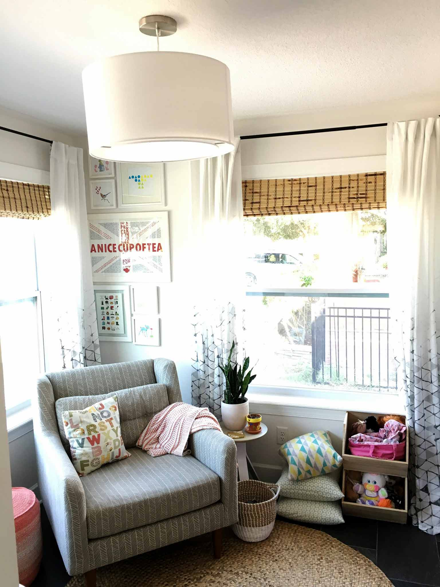 Lined bamboo blinds and sheer curtains - playroom house tour - That Homebird Life Blog