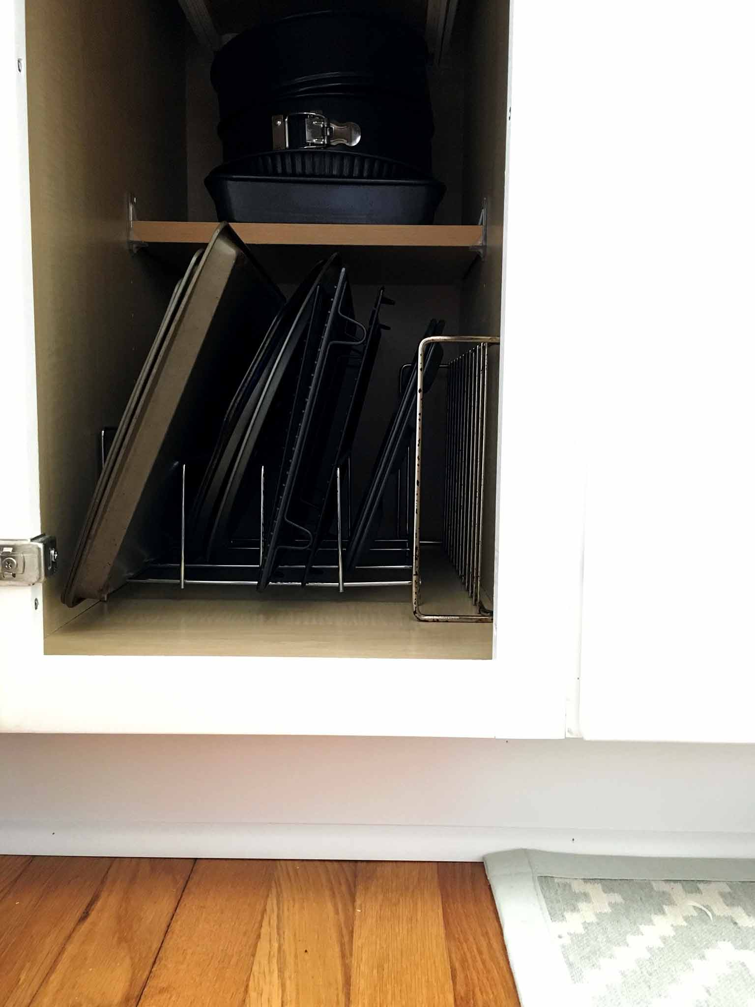 Vertical bakeware kitchen cabinet organizer - That Homebird Life Blog