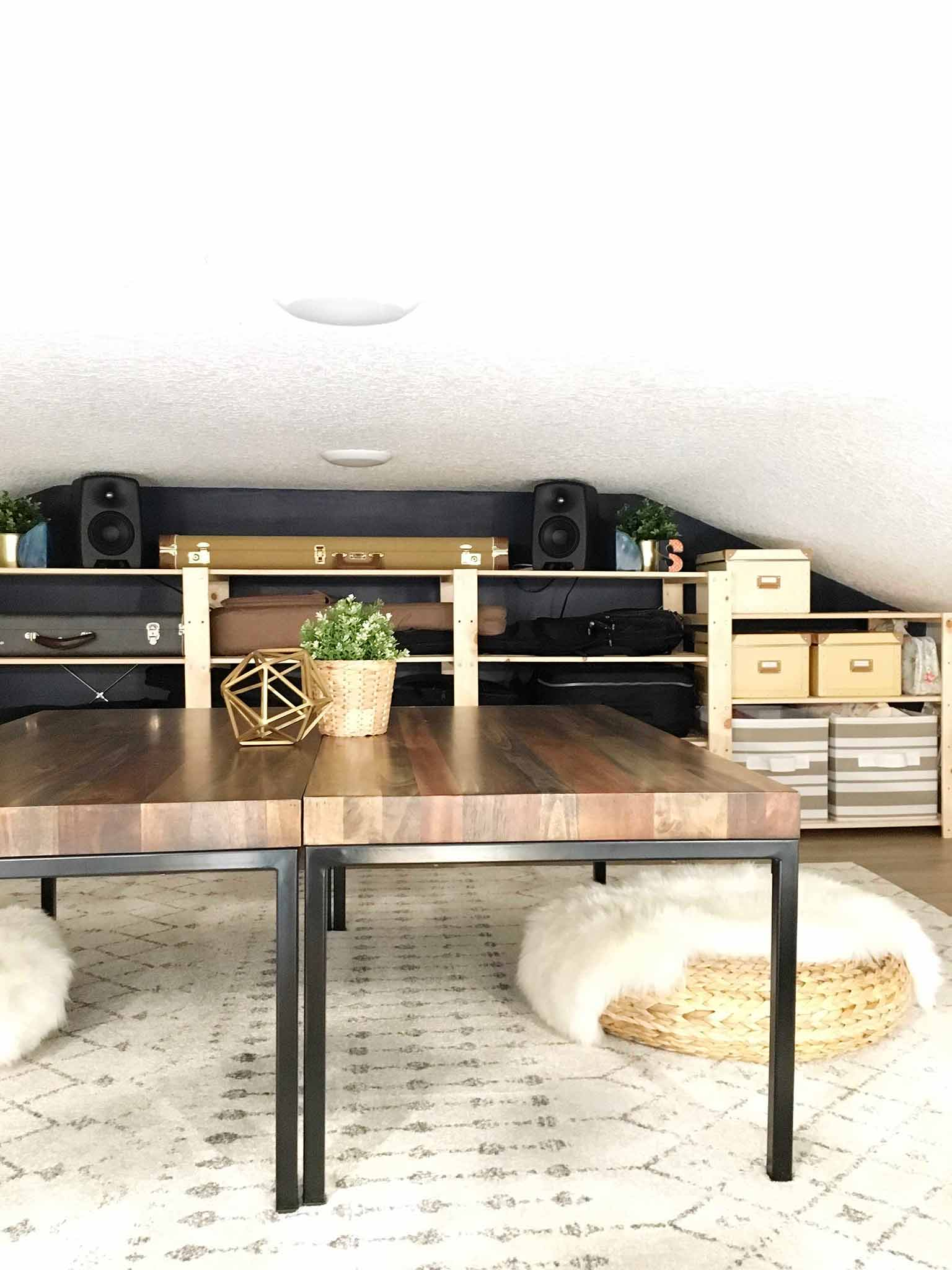 IKEA HEJNE Shelving Hack in Loft Space - guitar storage - That Homebird Life Blog
