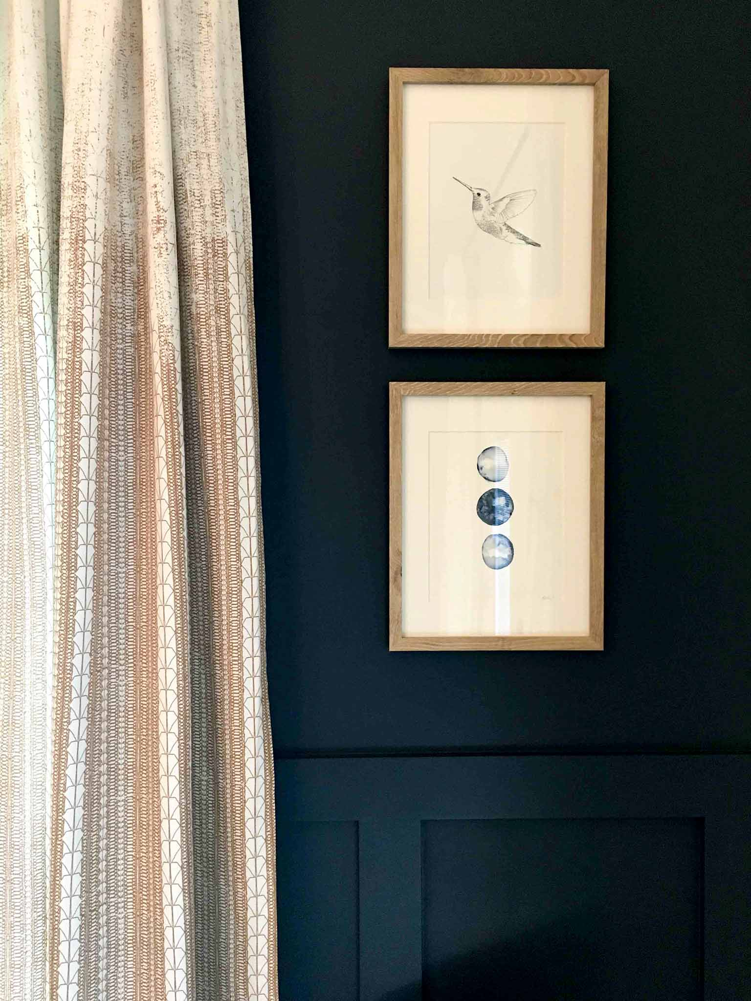Sneak peek of guest house - Benajmin Moore Hale Navy paint color with West Elm Echo Print curtains in Gold Dust - That Homebird Life Blog