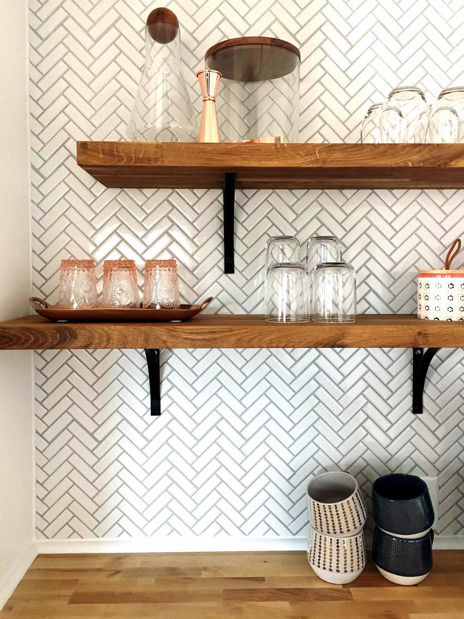 Sneak peek of guest house kitchenette area - herringbone tile with wooden open shelving - That Homebird Life Blog