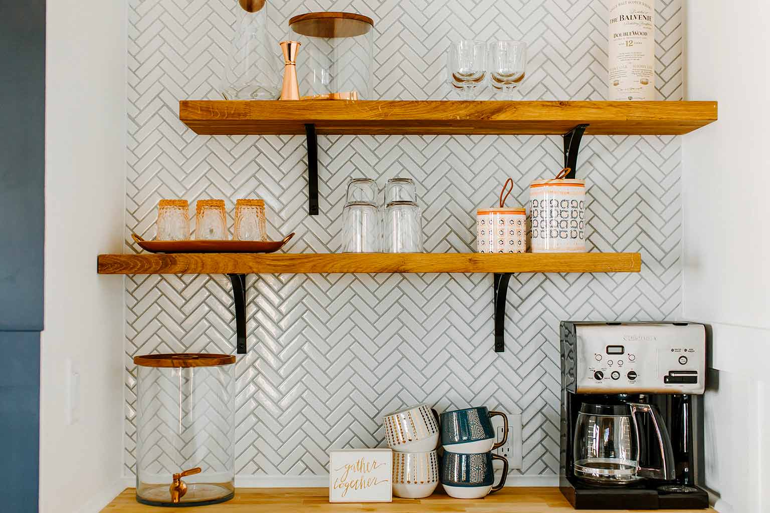 Kitchenette with open shelving and herringbone tile - The Guest House Reveal - That Homebird Life Blog