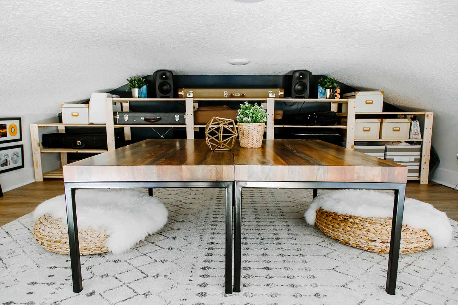 Loft with coffee tables and guitar storage - The Guest House Reveal - That Homebird Life Blog