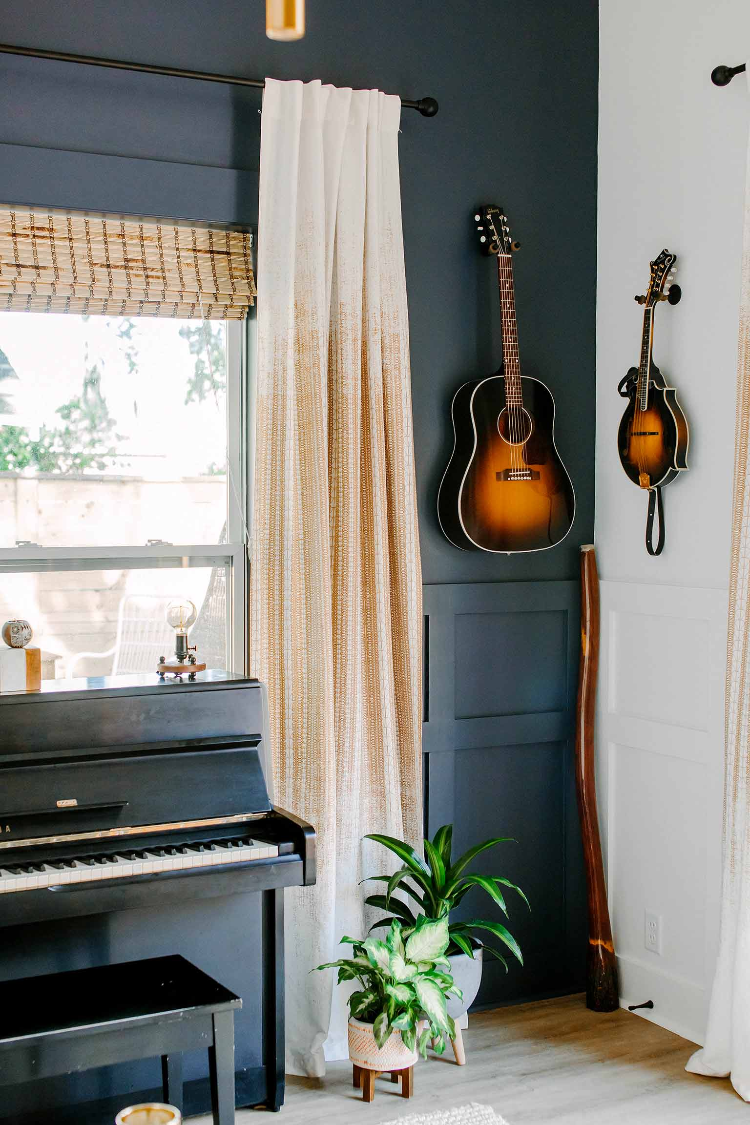 Hanging guitar and mandolin - The Guest House Reveal - That Homebird Life Blog