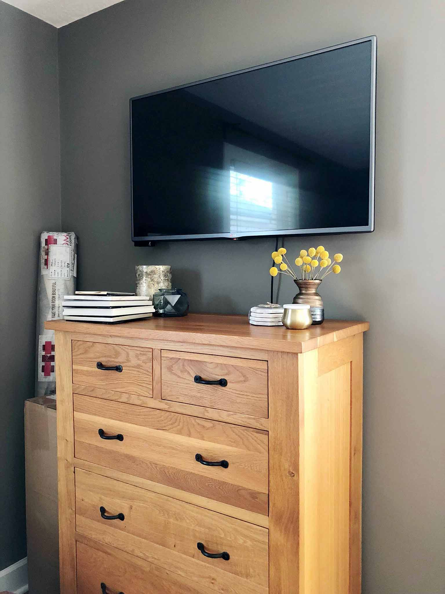 Master Bedroom Progress Mounted TV - The One Room Challenge - That Homebird Life Blog