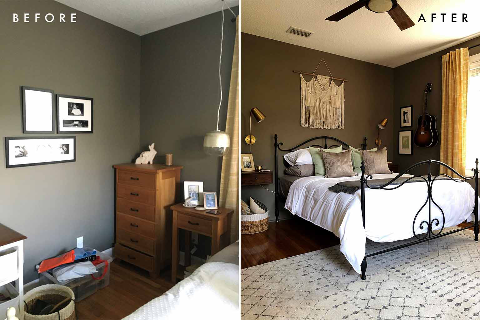 Master Bedroom Before and After - The One Room Challenge - That Homebird Life Blog