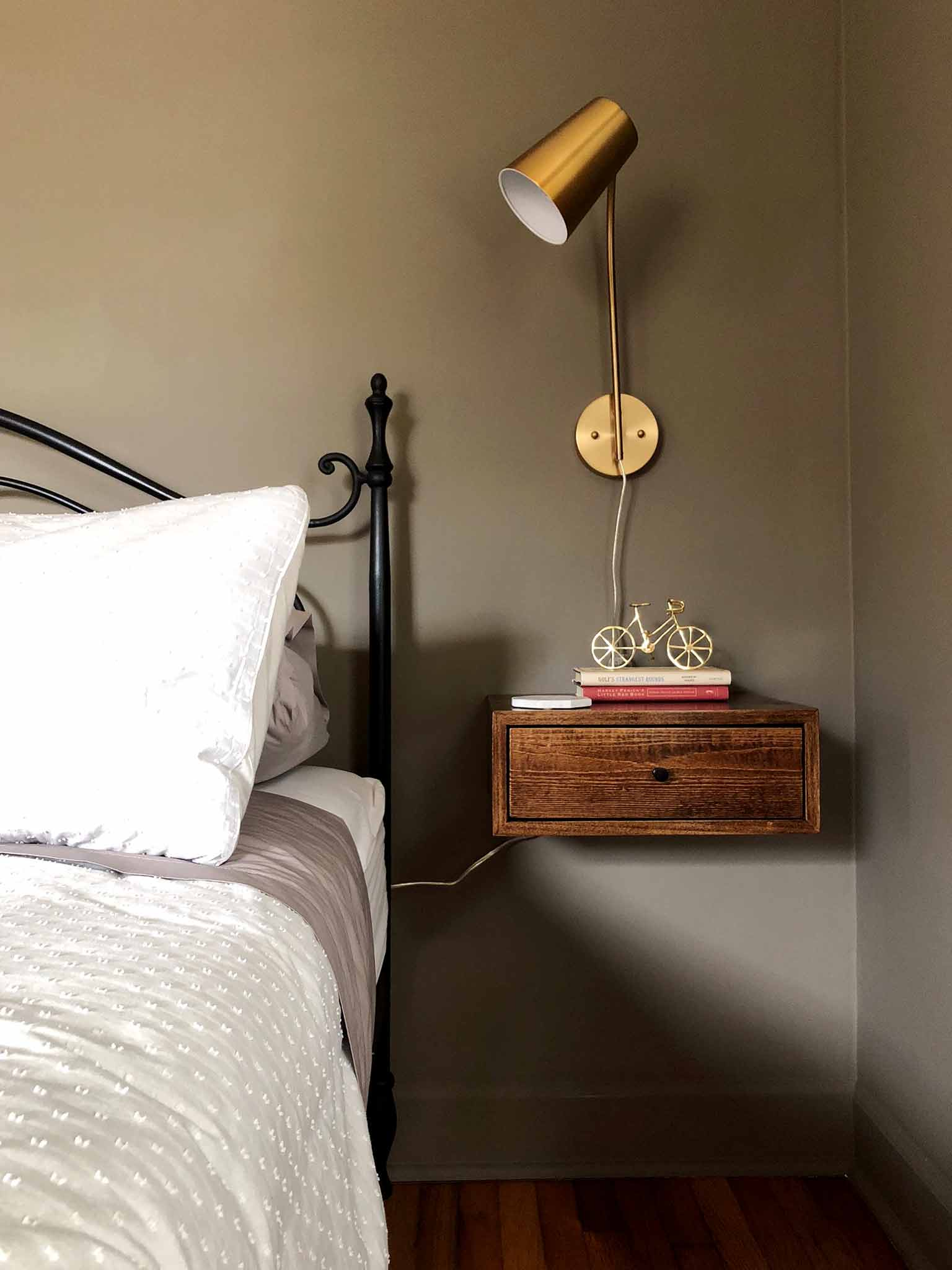 Master Bedroom Progress floating nightstands and wall mounted lamps - The One Room Challenge - That Homebird Life Blog