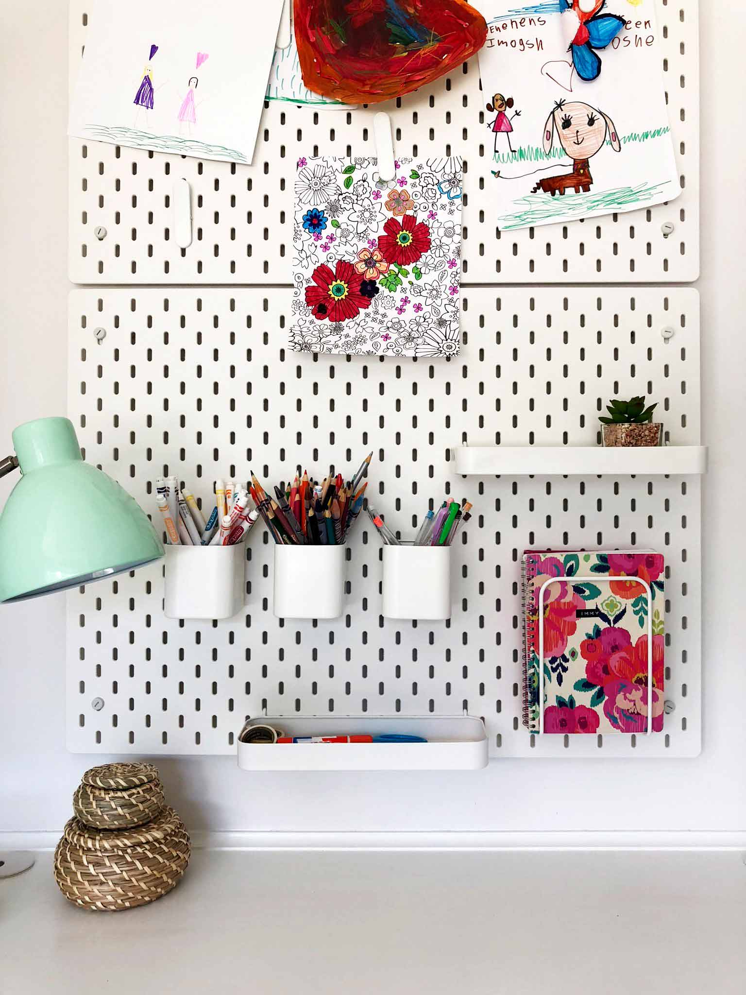 Kids craft area in the playroom using IKEA SKÅDIS pegboard series