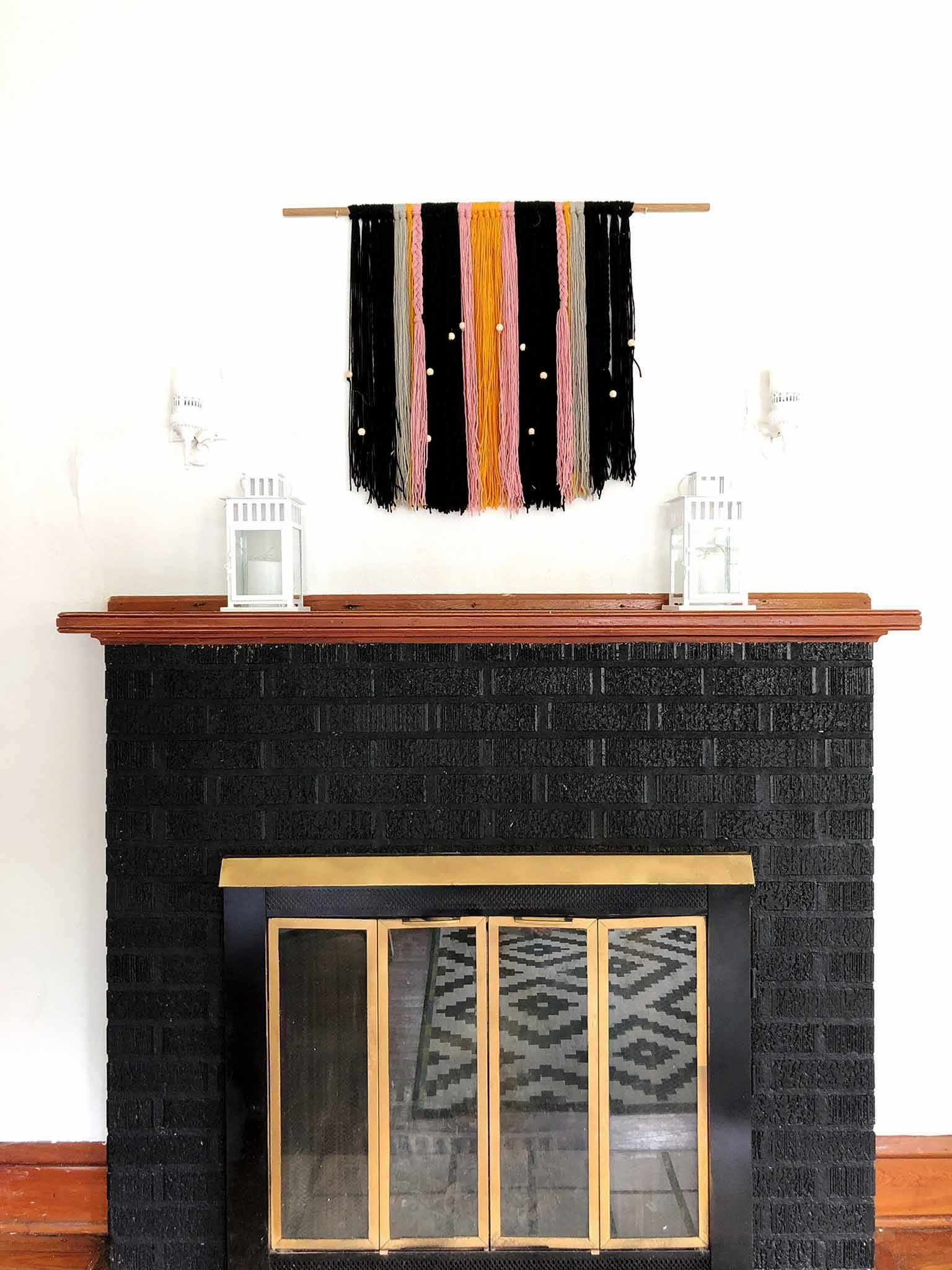 Yarn Wall hanging - Modern minimalist room makeover on a budget - That Homebird Life Blog
