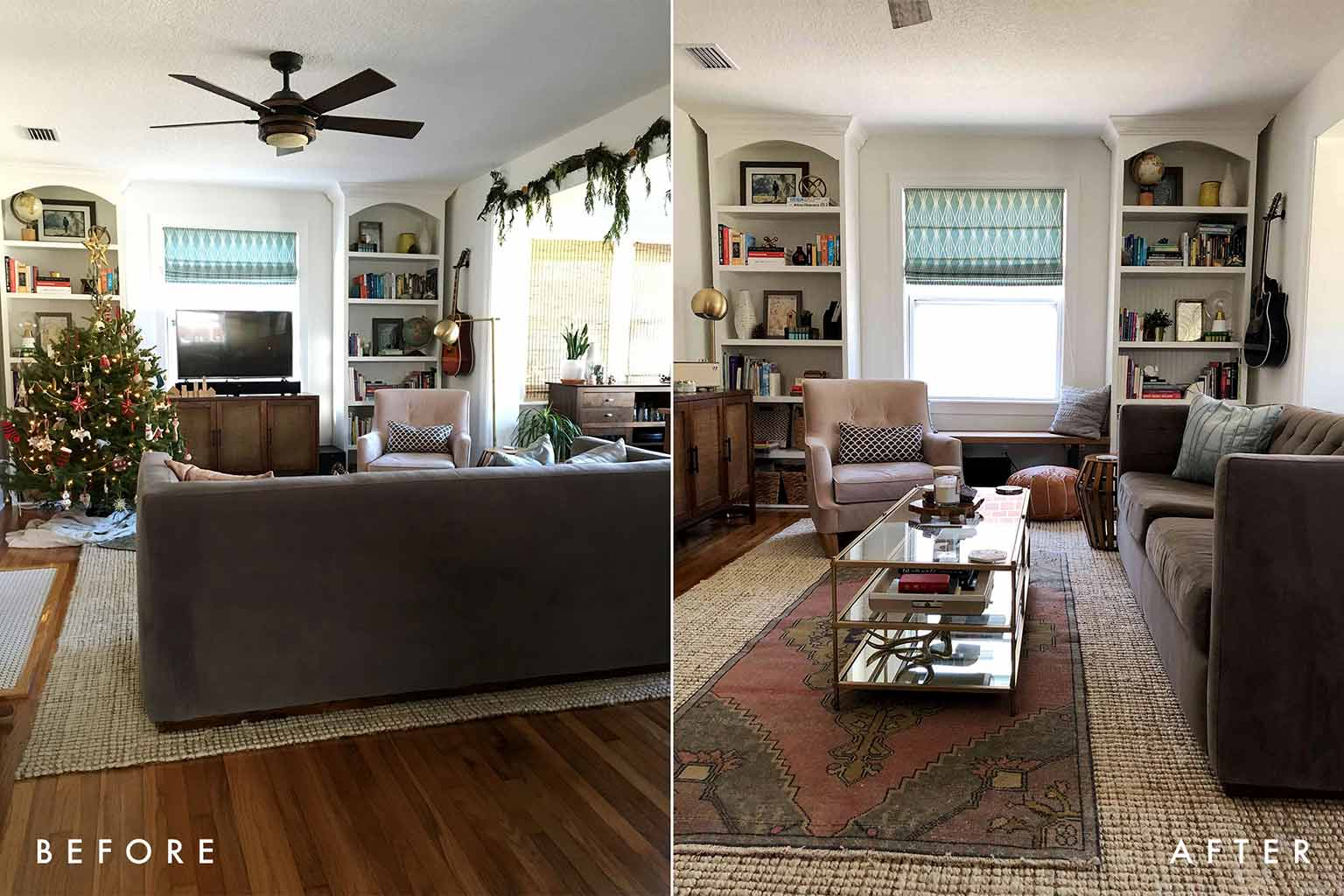 Living Room Before and After - The One Room Challenge - That Homebird Life Blog