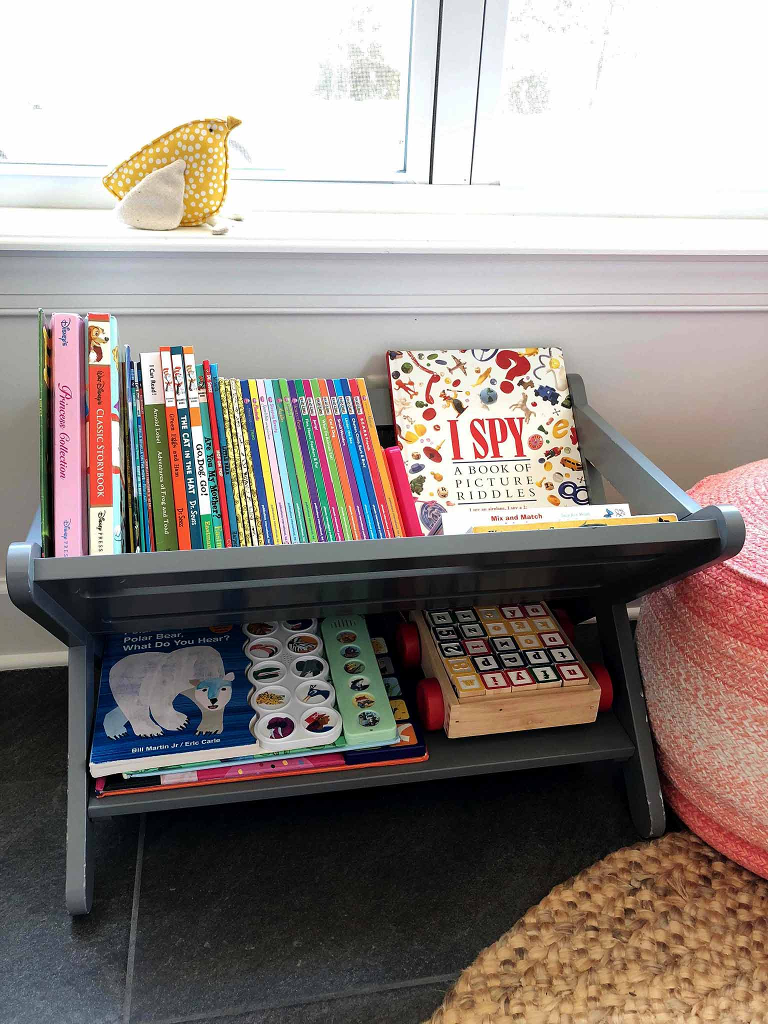 Book caddy - How to Declutter, Organize and Style Kids' Books - That Homebird Life Blog