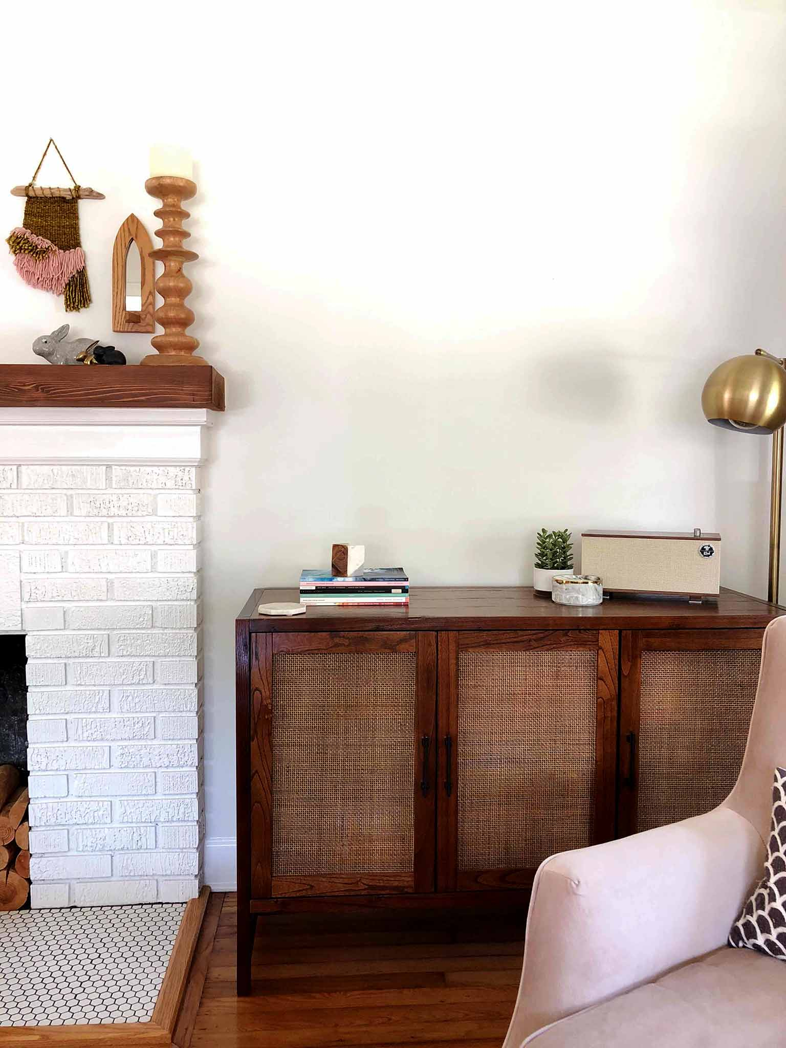 Layered and cozy living room - media cabinet - That Homebird Life Blog