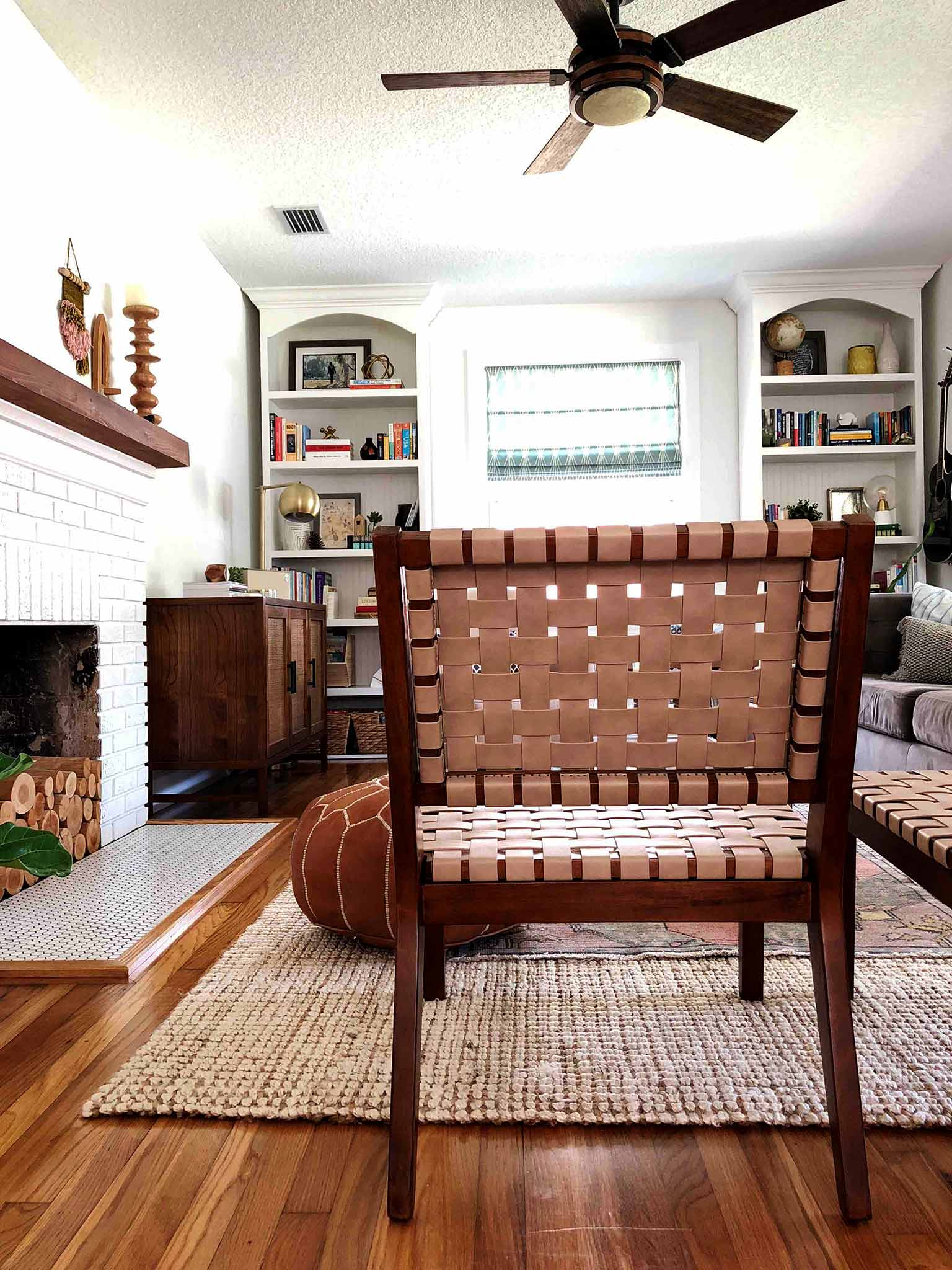Layered and cozy living room - accent woven chairs Project 62 - That Homebird Life Blog