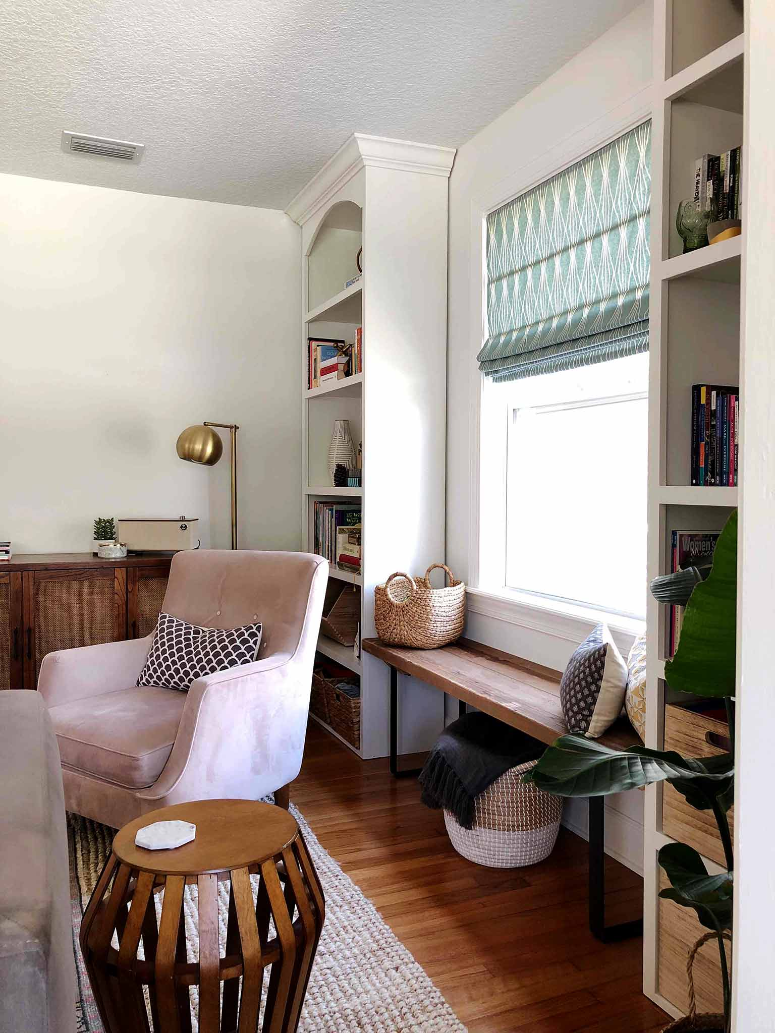 Layered and cozy living room - window bench - That Homebird Life Blog