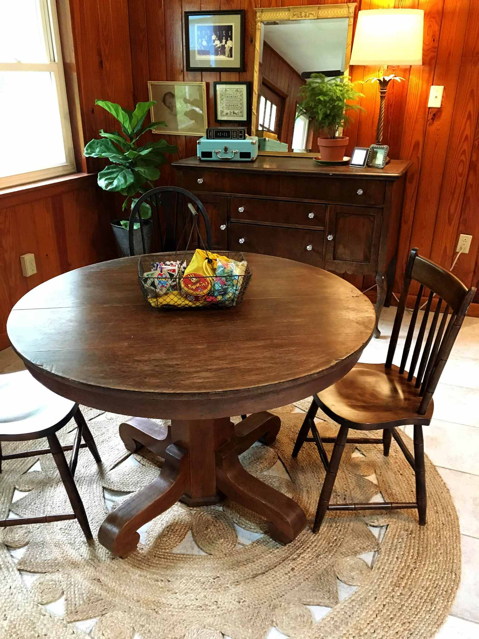 Games table - A Cozy & Eclectic Bonus Room Makeover - That Homebird Life Blog