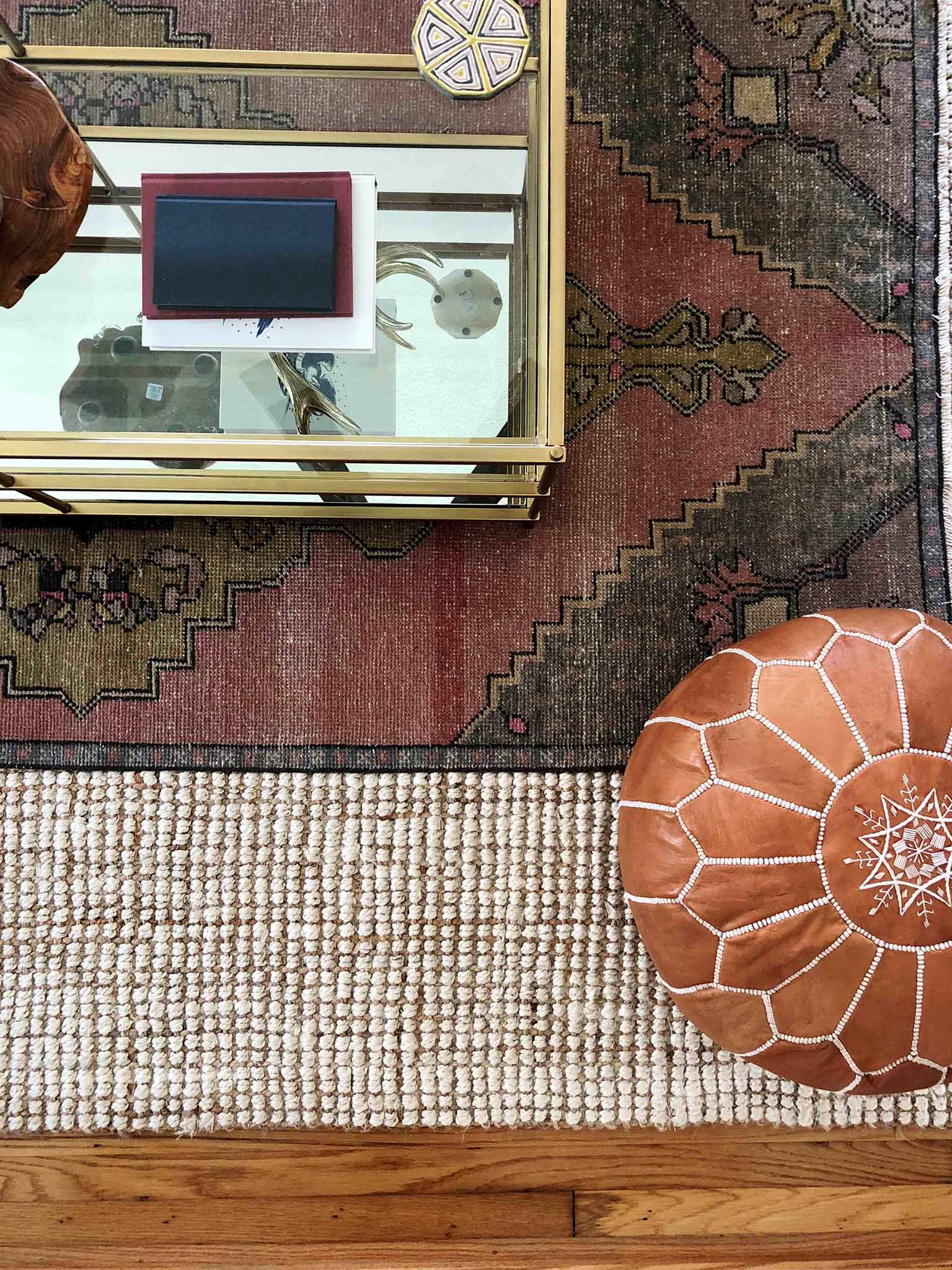 Layered and cozy living room - Vintage Turkish Rug - That Homebird Life Blog