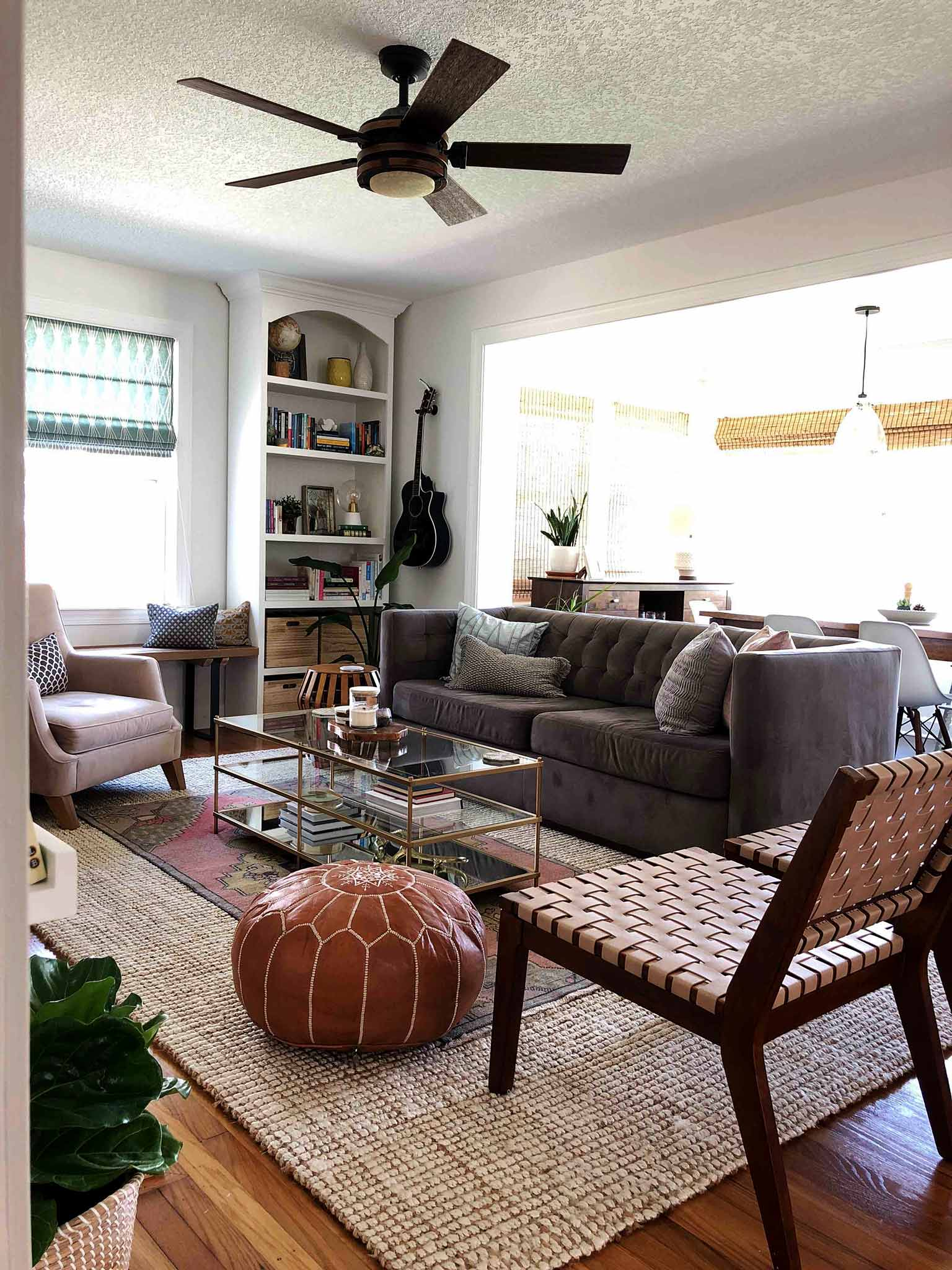 Layered and cozy living room - boho mid century modern - That Homebird Life Blog
