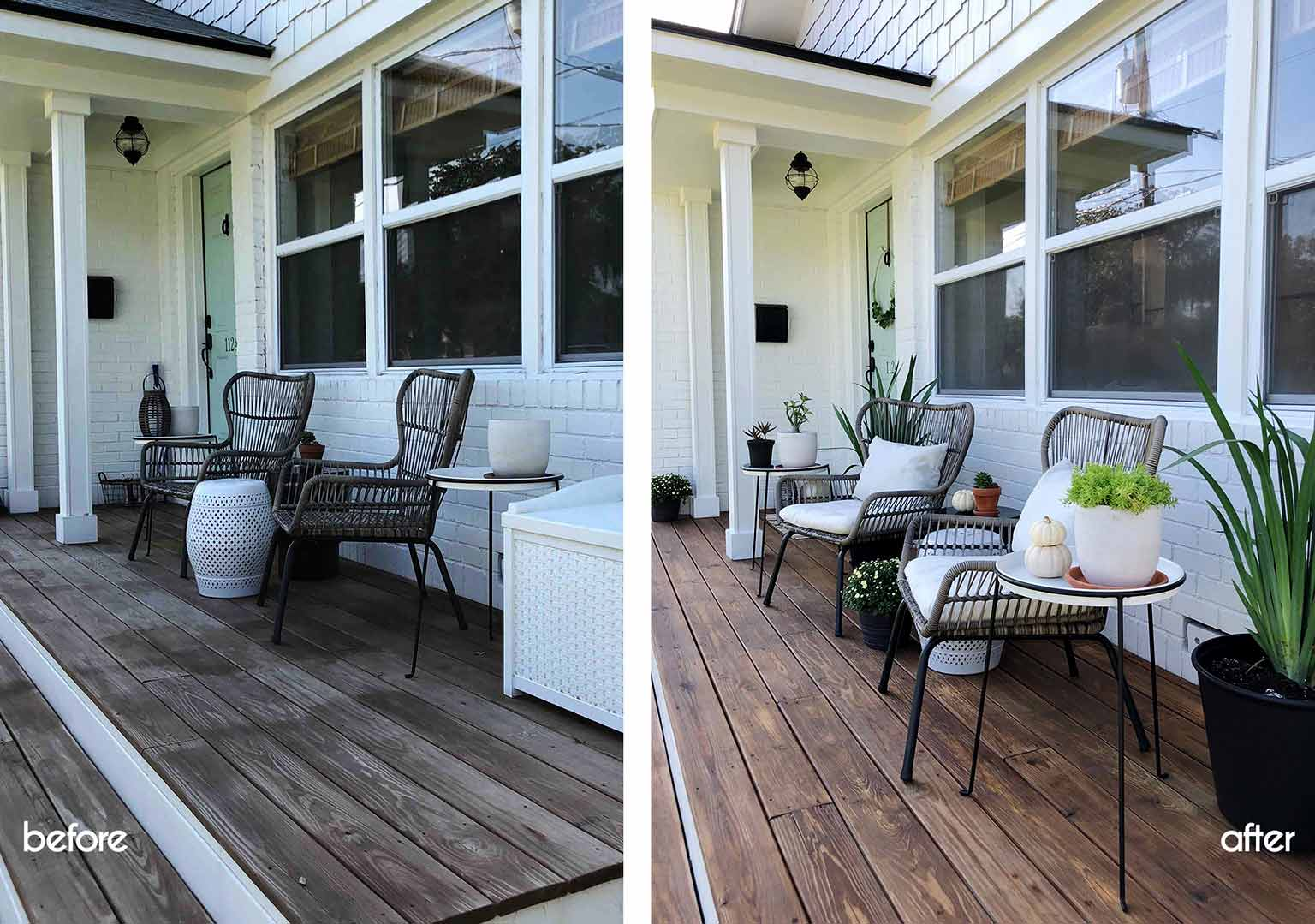 Before and after - Front porch fall makeover reveal - That Homebird Life Blog