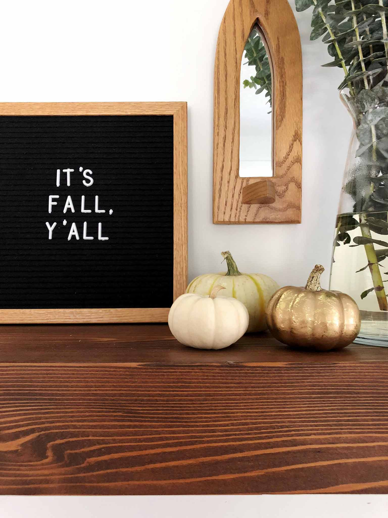 Mantel with a letterboard and pumpkins - Simple Fall Decor for the Uncluttered Home - That Homebird Life blog