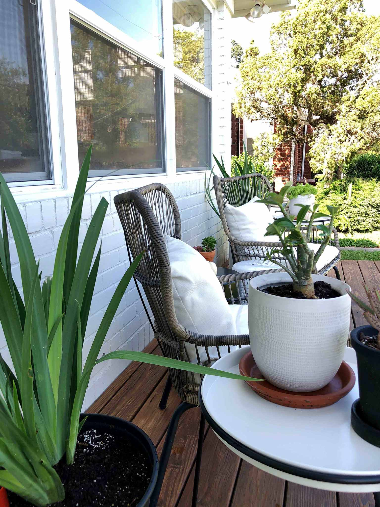 Iris planters - Front porch fall makeover reveal - That Homebird Life Blog