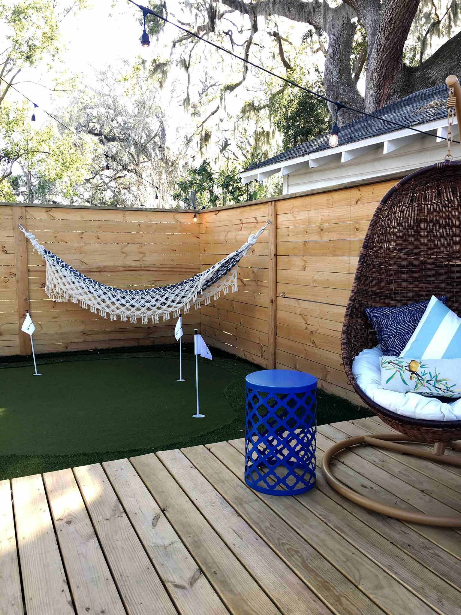 Deck, hanging chairs and hammock back in February - That Homebird Life Blog