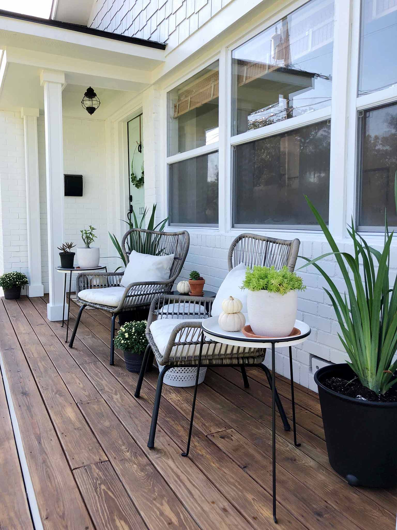 Iris planters and succulents - Front porch fall makeover reveal - That Homebird Life Blog