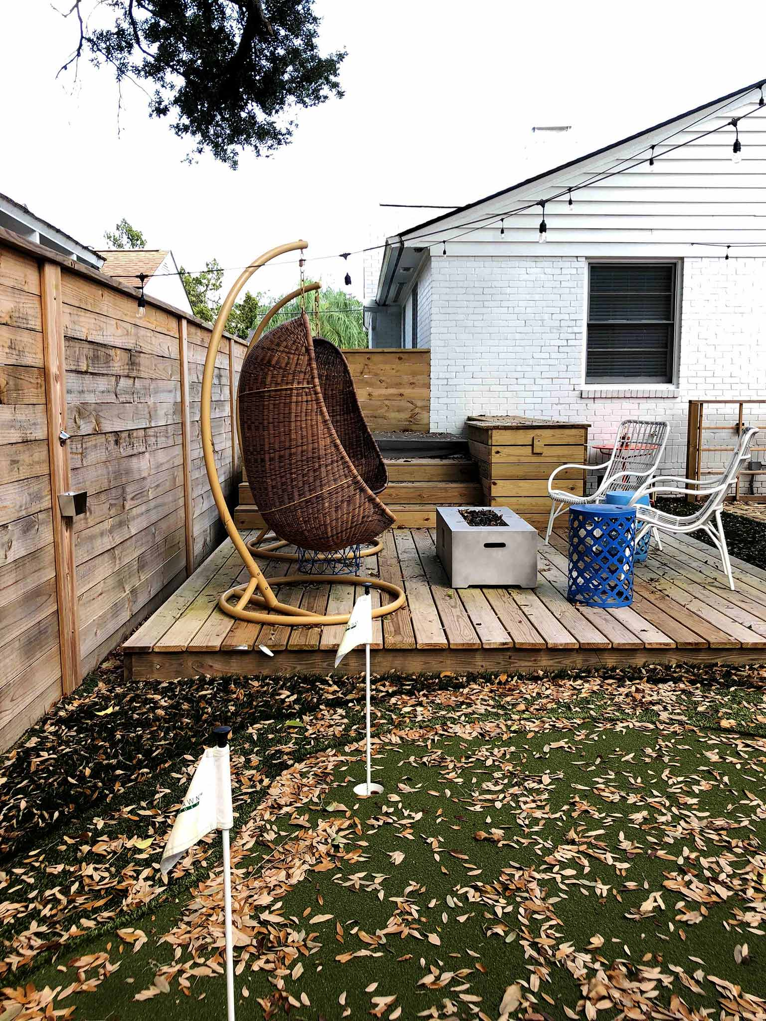 Current situation - deck, synlawn and hot tub - That Homebird Life Blog