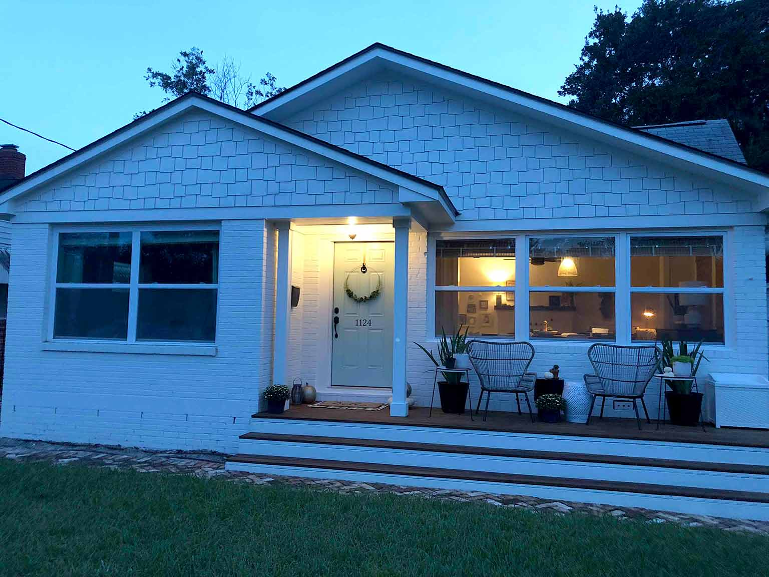 Front porch fall makeover reveal night view - That Homebird Life Blog