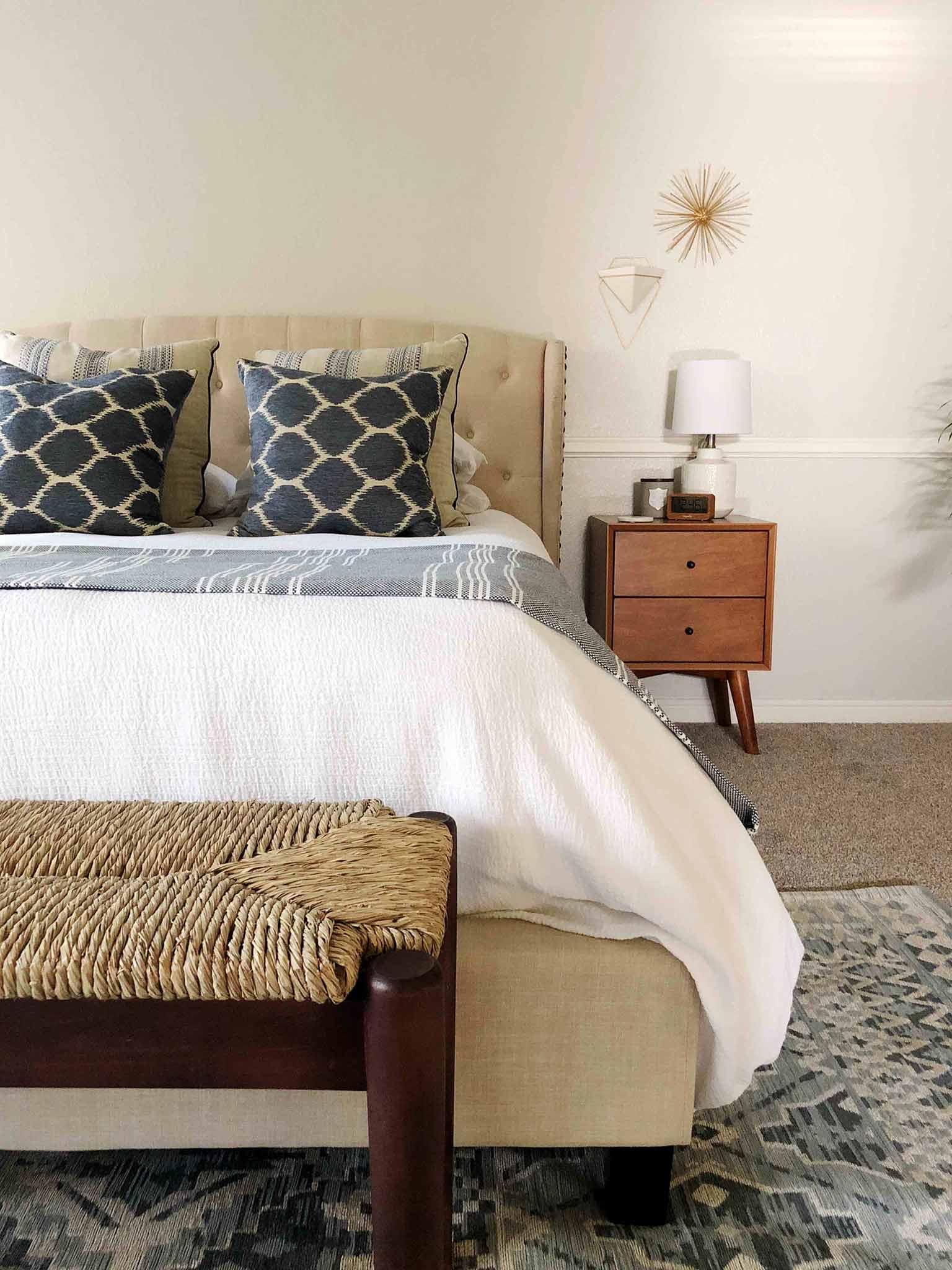 A Serene Mid Century Modern Coastal Style Master Bedroom