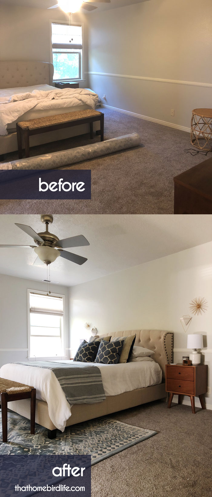 BEFORE AND AFTER - Mid Century Modern, Coastal, Master Bedroom Makeover - That Homebird Life Blog