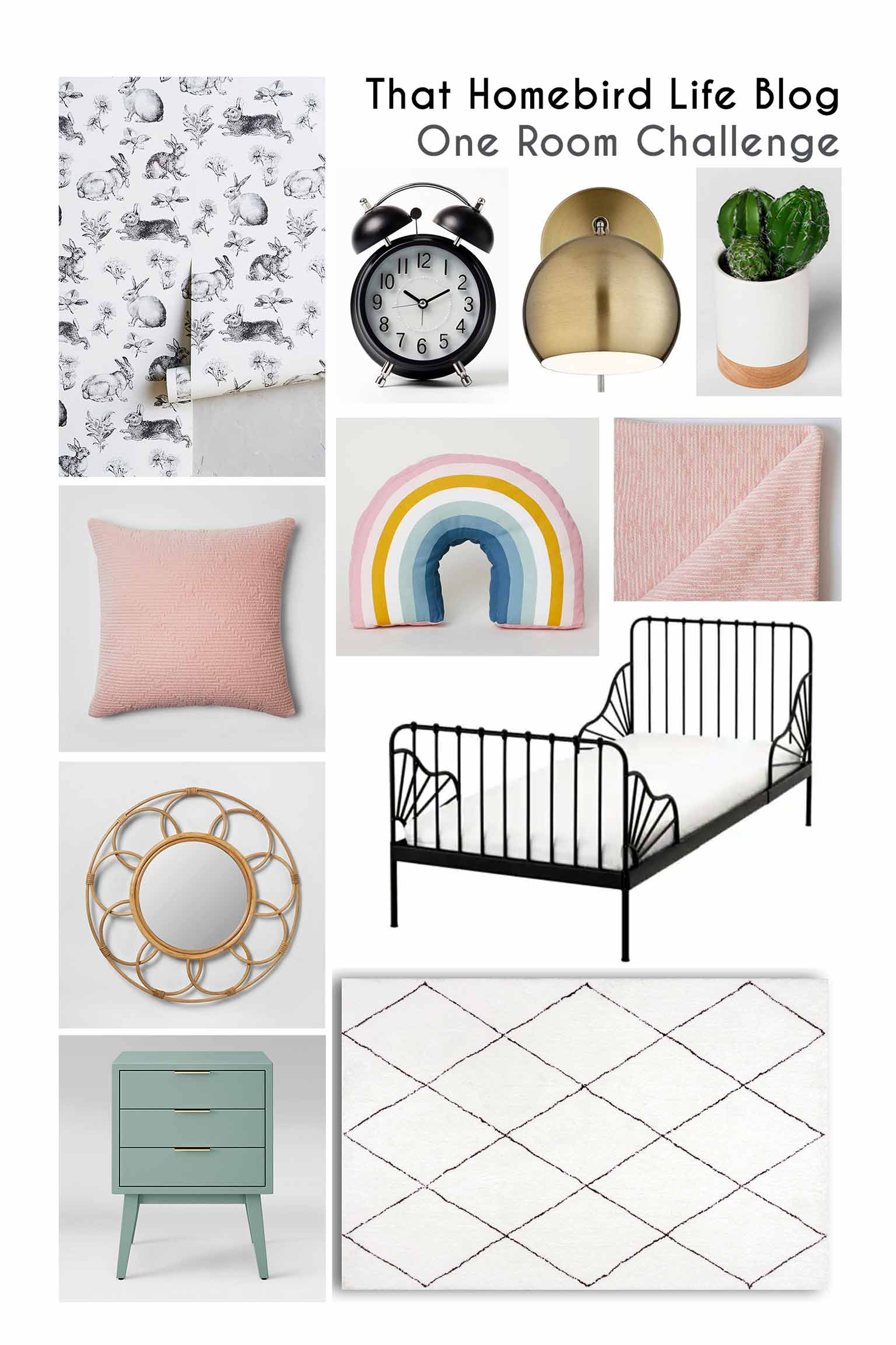 Mood board for Girls' Bedroom - Guest Participant of the One Room Challenge - That Homebird Life Blog