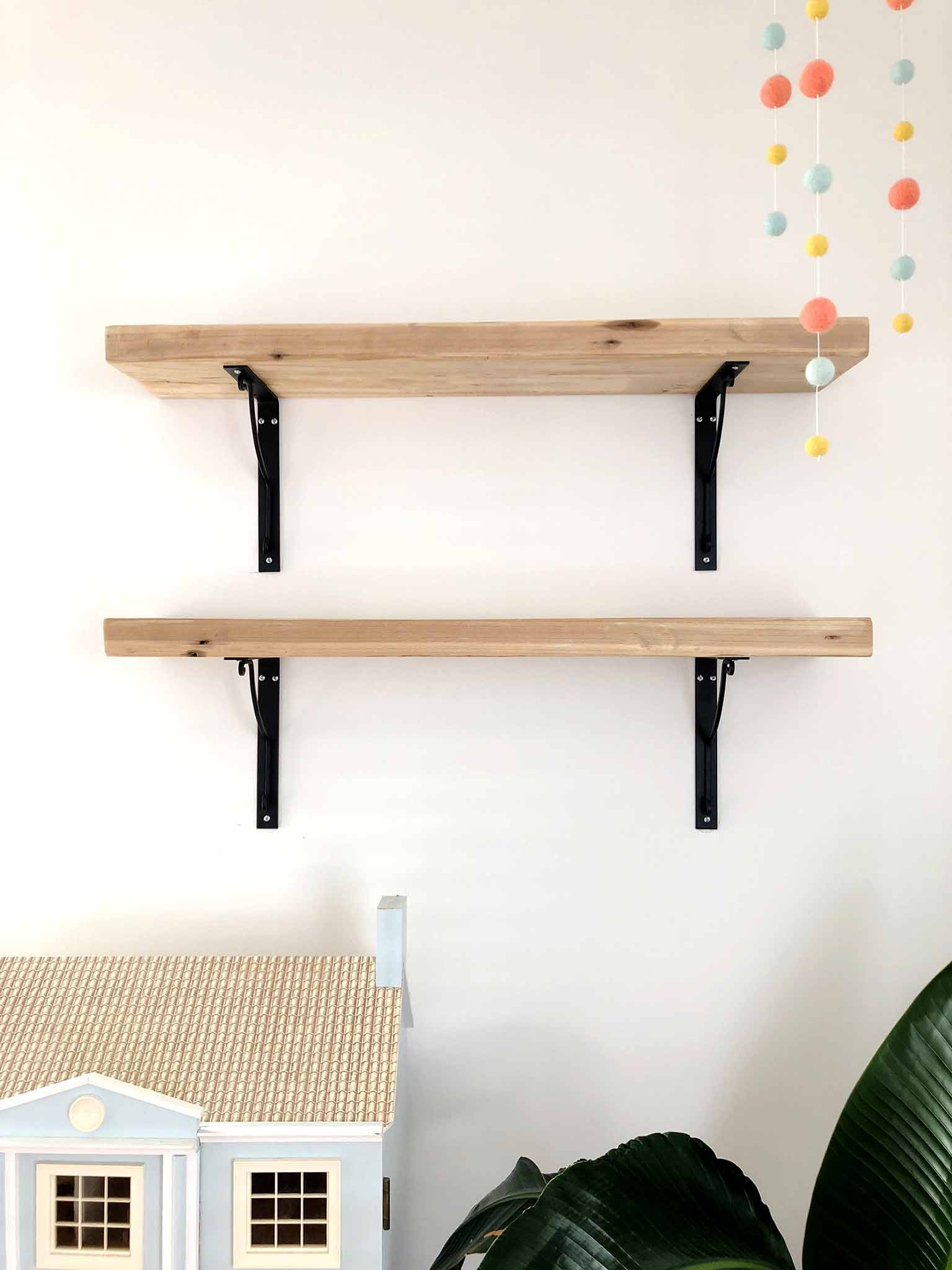 Making wall shelves out of reclaimed wood - Guest Participant of the One Room Challenge - That Homebird Life Blog