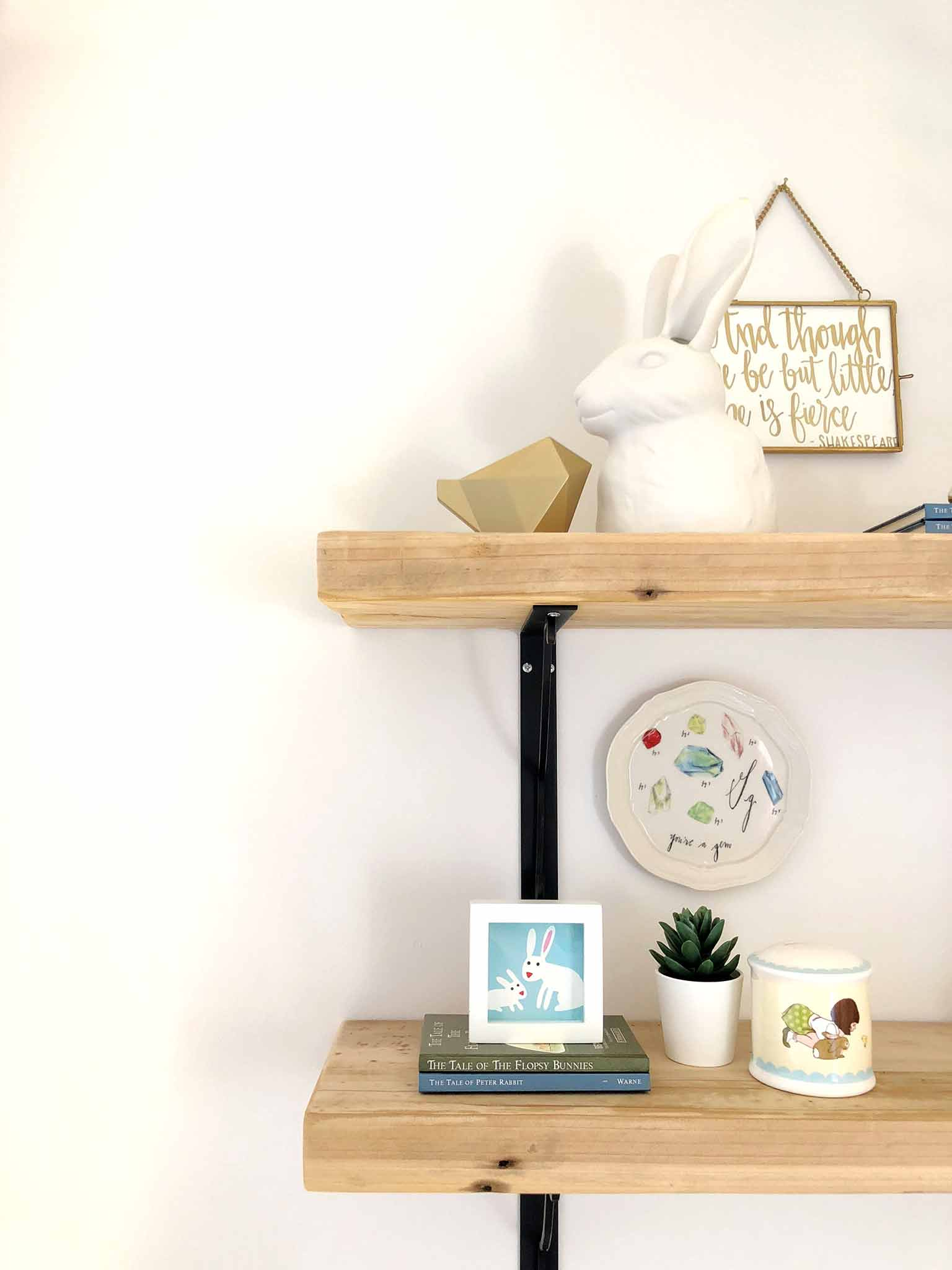 Sneak peek of shelf styling - Guest Participant of the One Room Challenge - That Homebird Life Blog