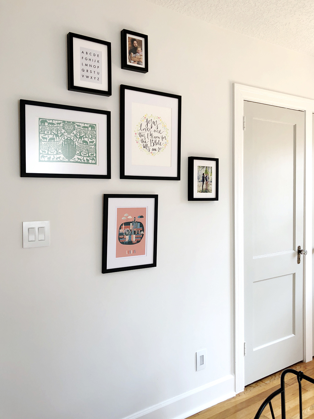 gallery wall and closet door