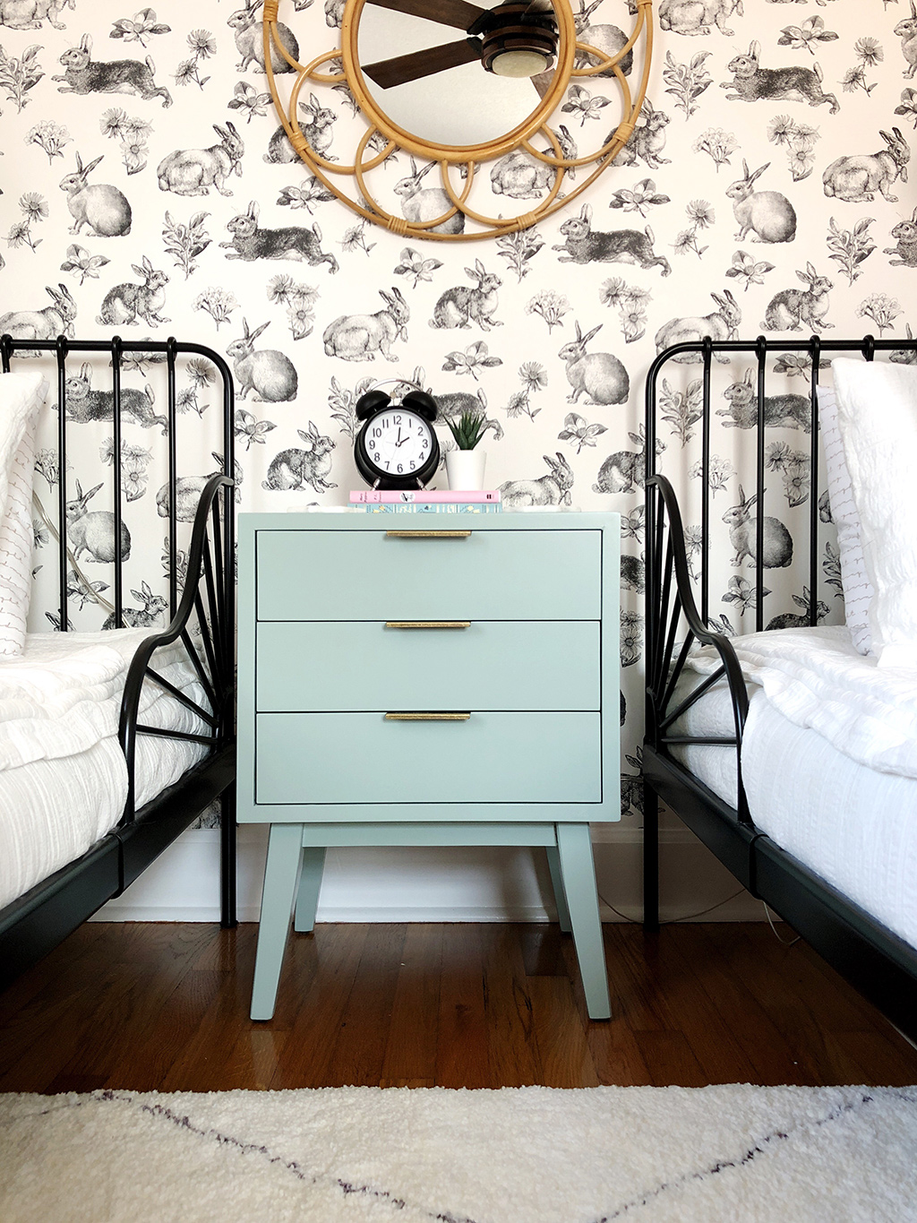 twin beds and nightstand