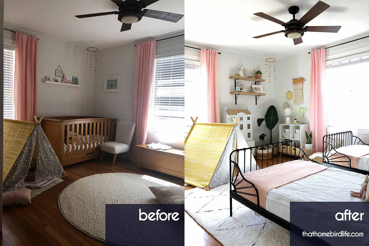 before and after of girls bedroom side by side