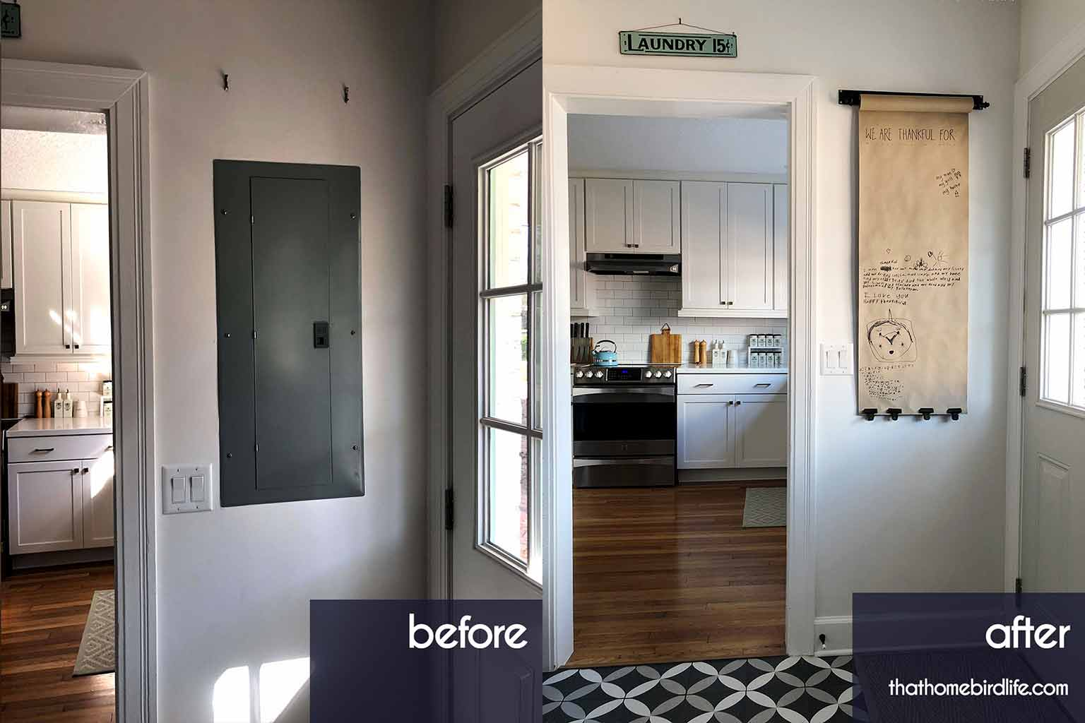 Before and after shots - Covering up an electrical panel - That Homebird Life Blog
