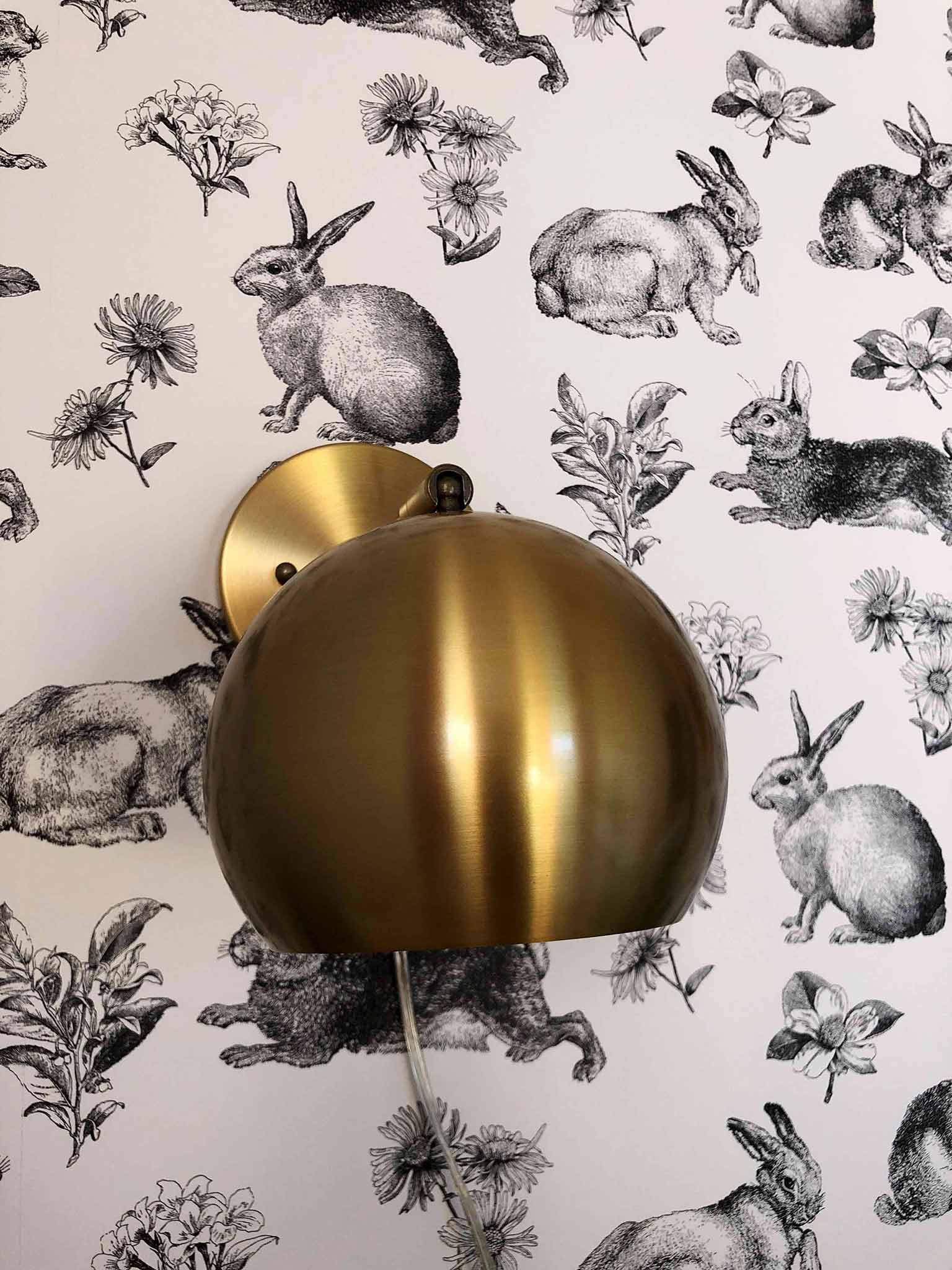 Gold wall lamps and rabbit wallpaper - Guest Participant of the One Room Challenge - That Homebird Life Blog