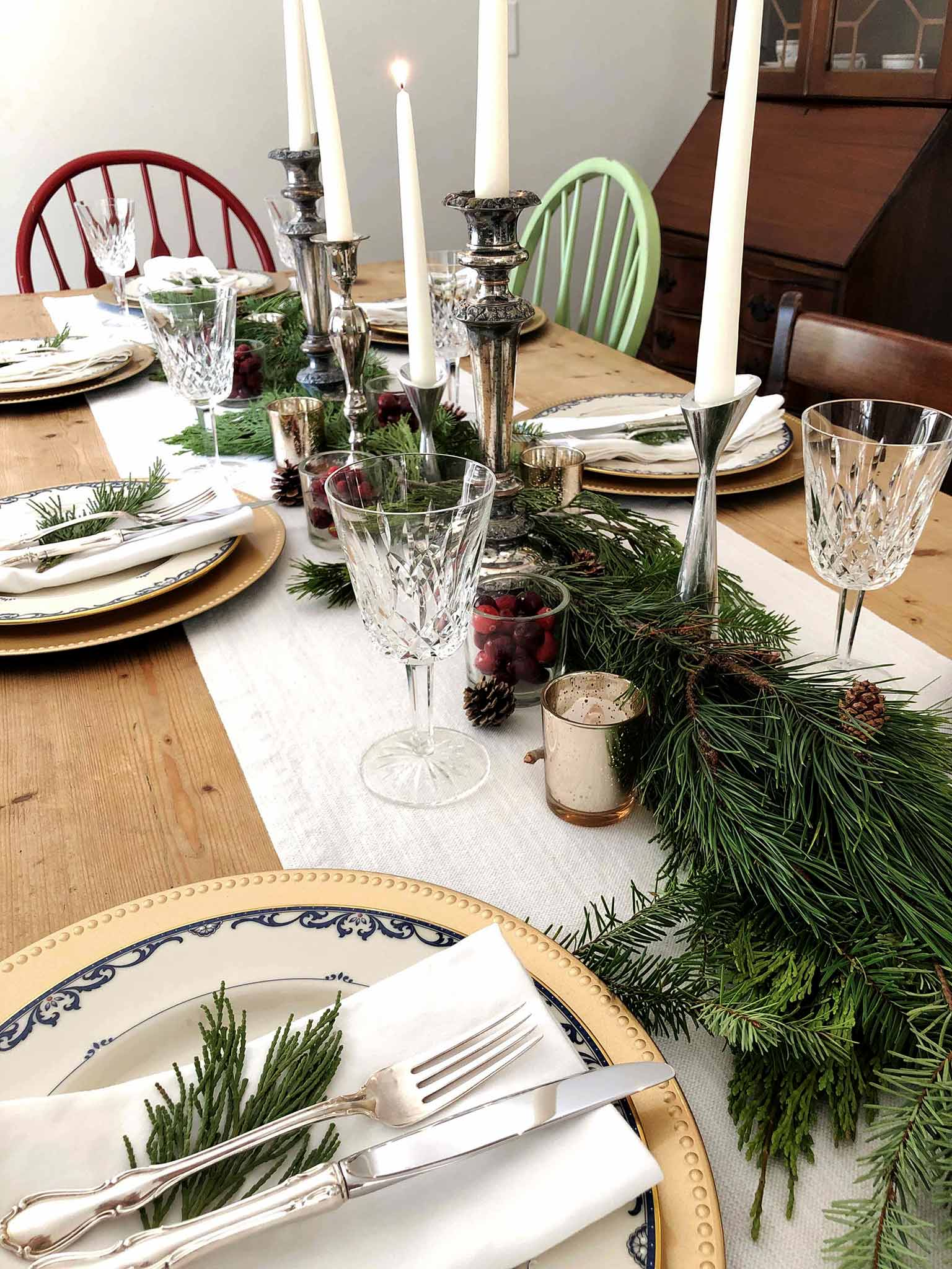 Candlesticks and taper candles | How to Create a Beautiful Tablescape on a Budget | That Homebird Life Blog #christmasdecor #tablescape